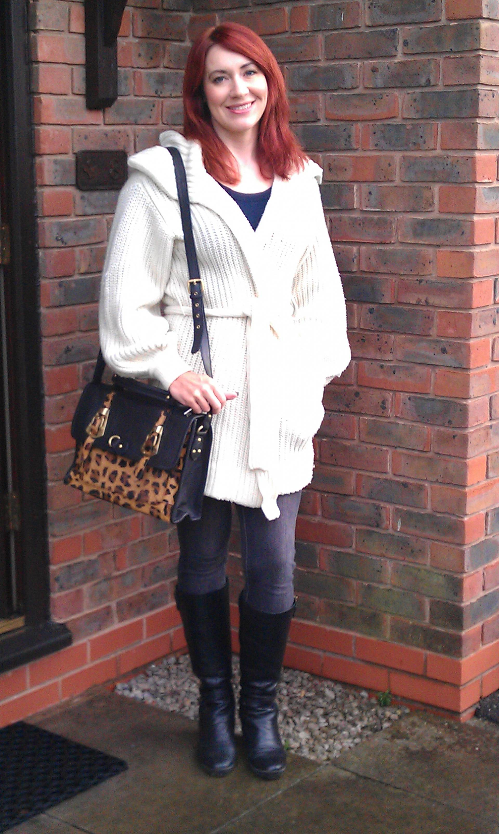 Chunky Cardigan and Asos Leopard Print Satchel