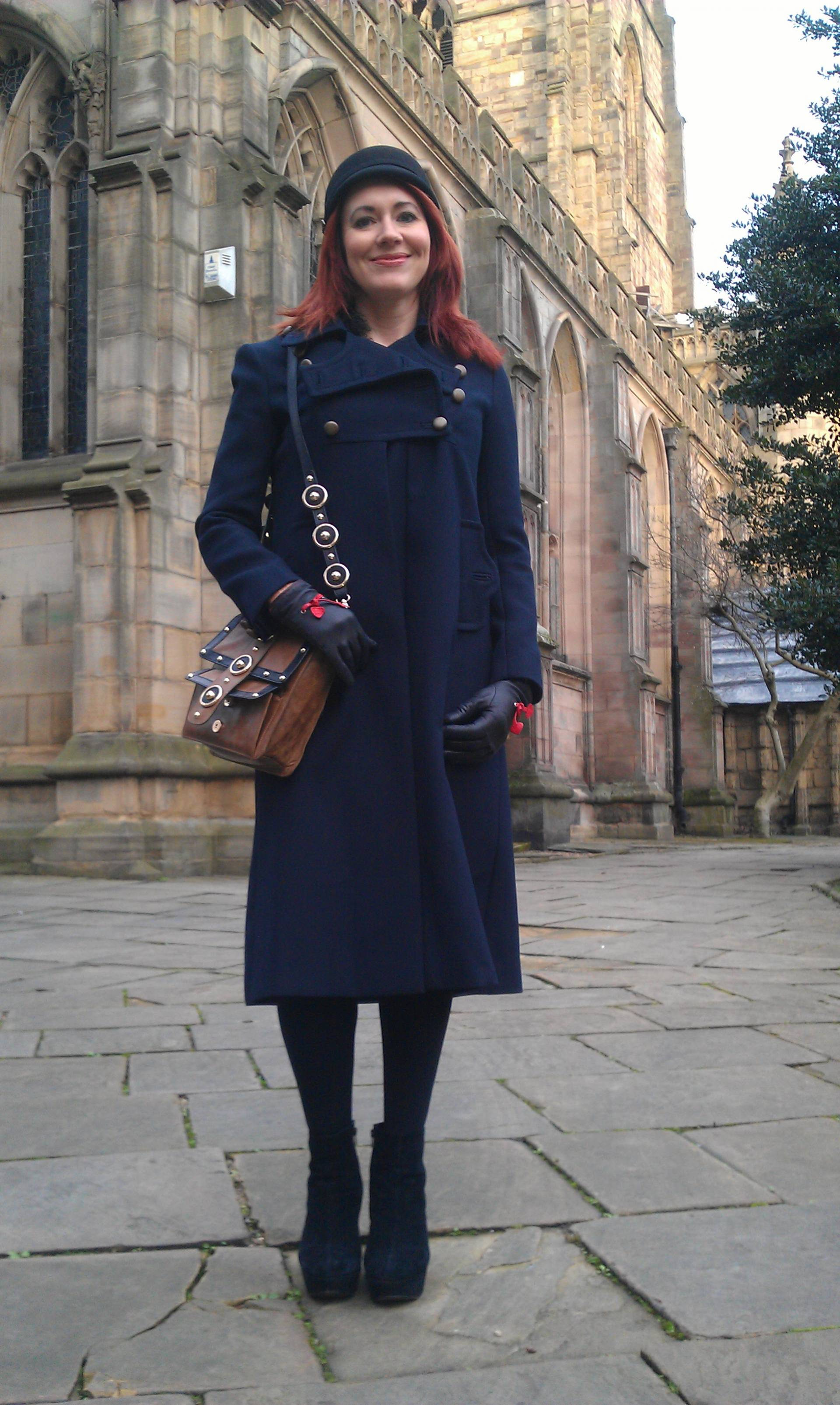 In the Navy | French Connection Military Coat and Temperley London Trinity Messenger Bag