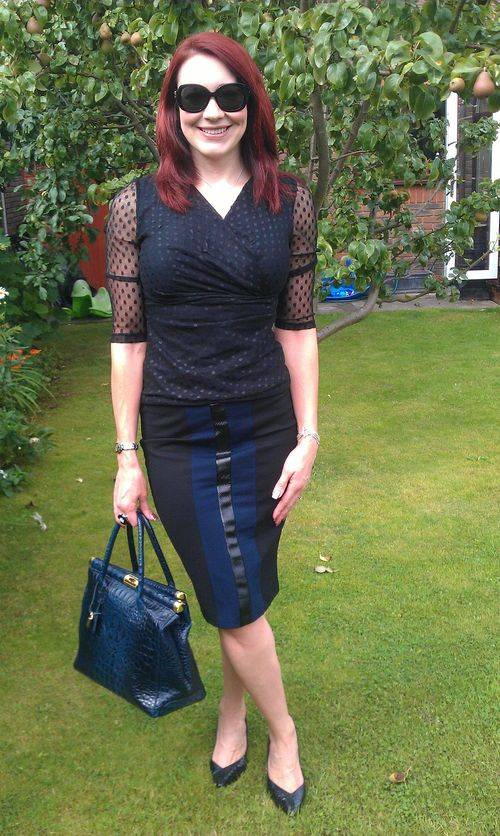 Silhouette Black Kaliko Polka Dot Top and Mary Portas Pencil SKirt