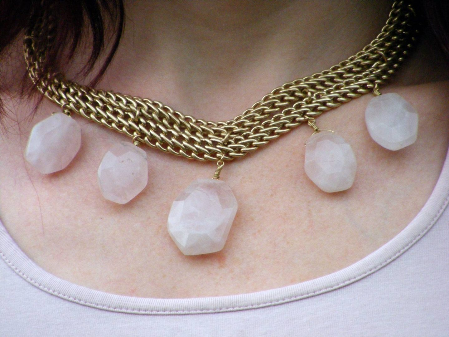 Marks and Spencer gold and rose quartz necklace