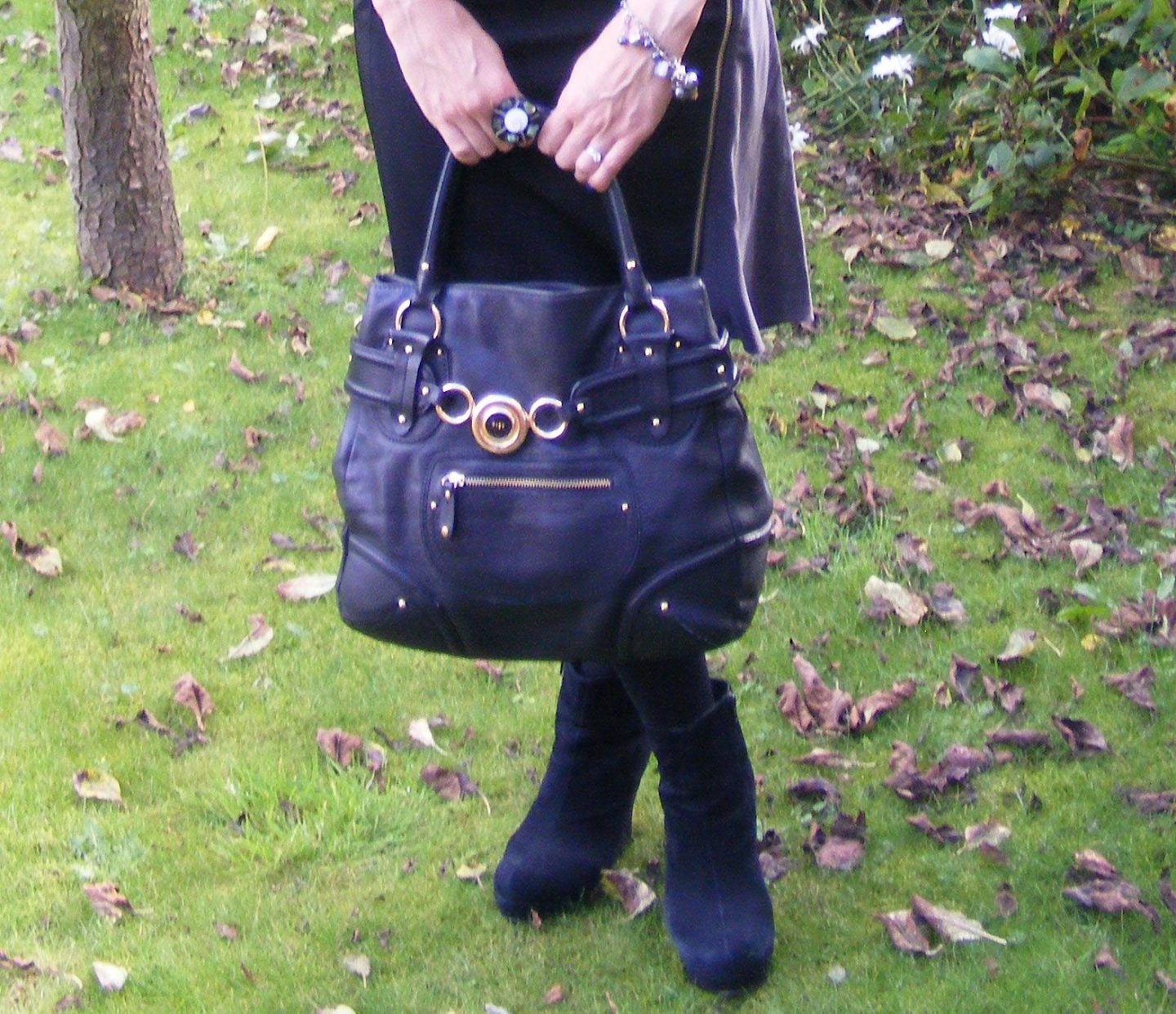 Ri2k black leather bag