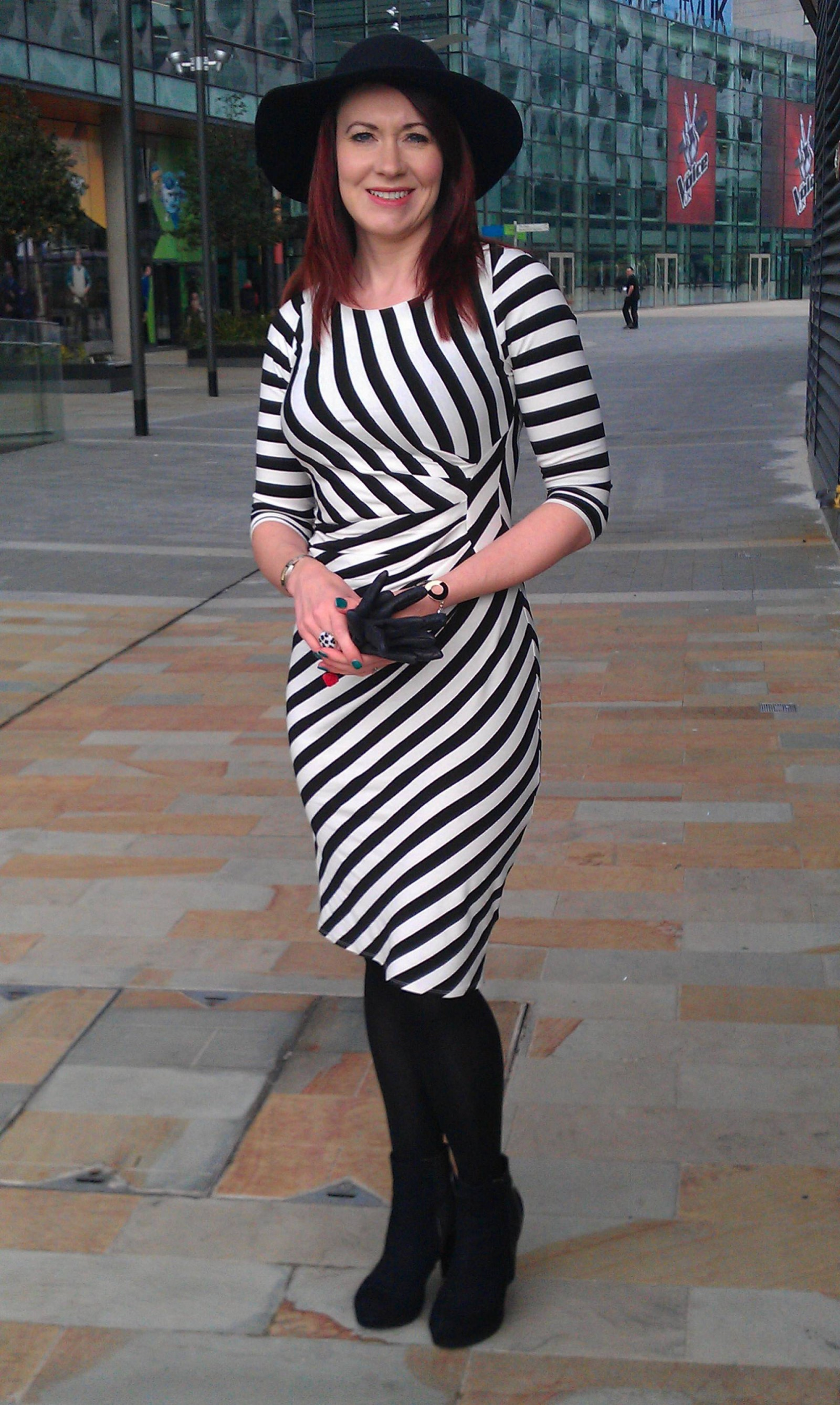 F&F black and white stripe dress