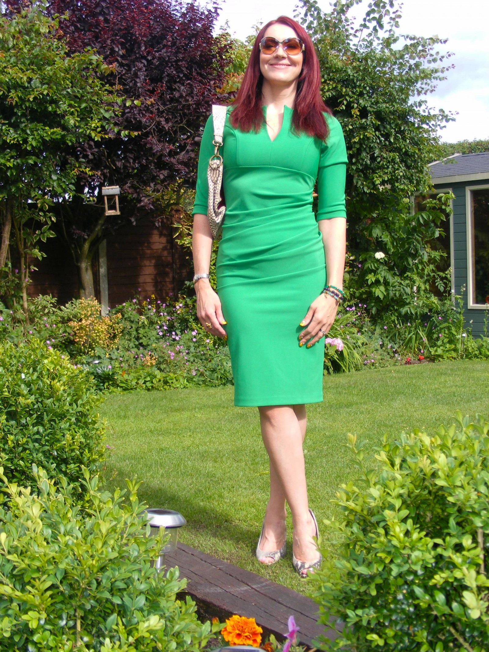 Emerald green fitted dress