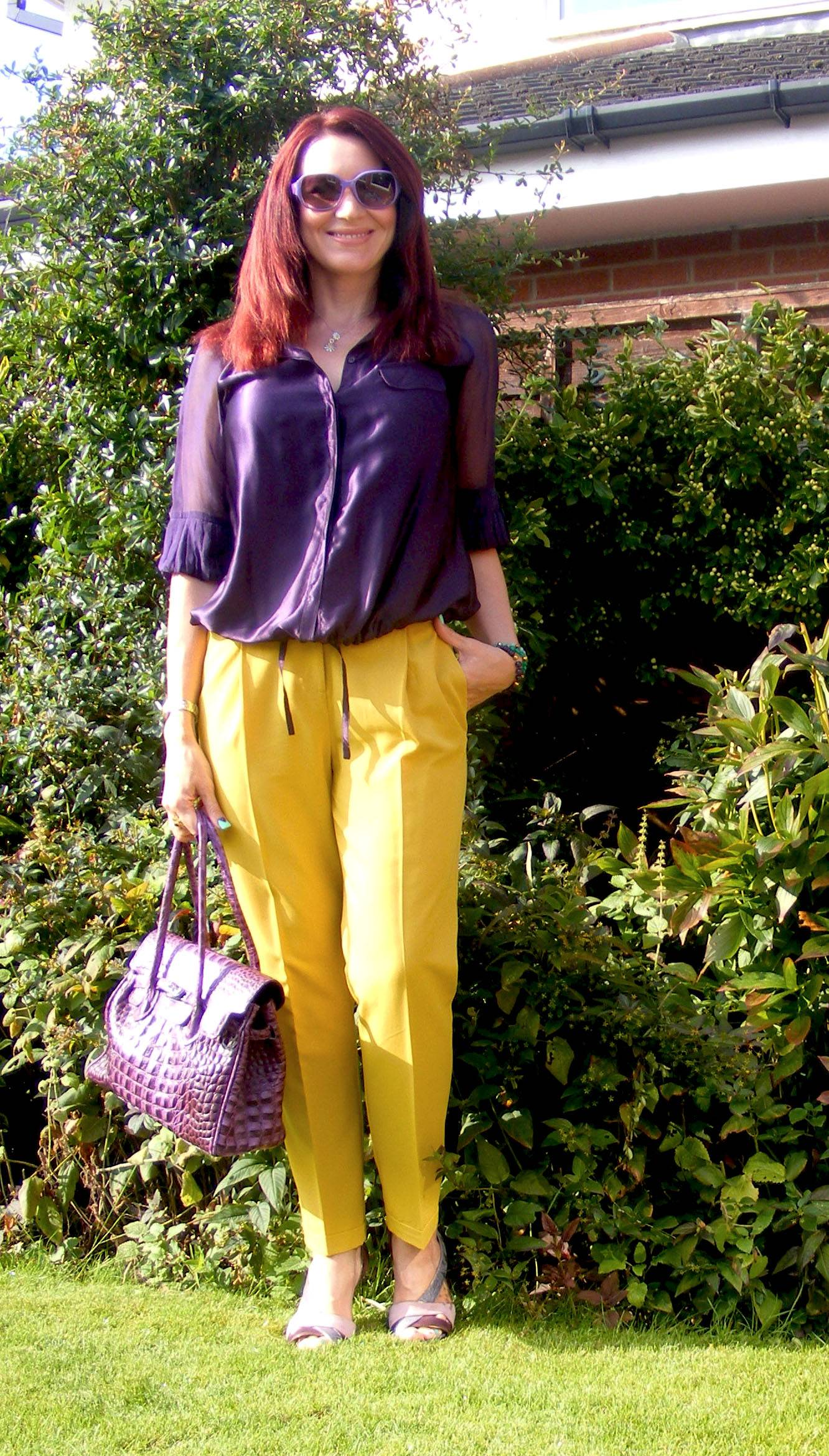 Autumn Brights | Asos Mustard Trousers and Reiss Purple Silk Blouse