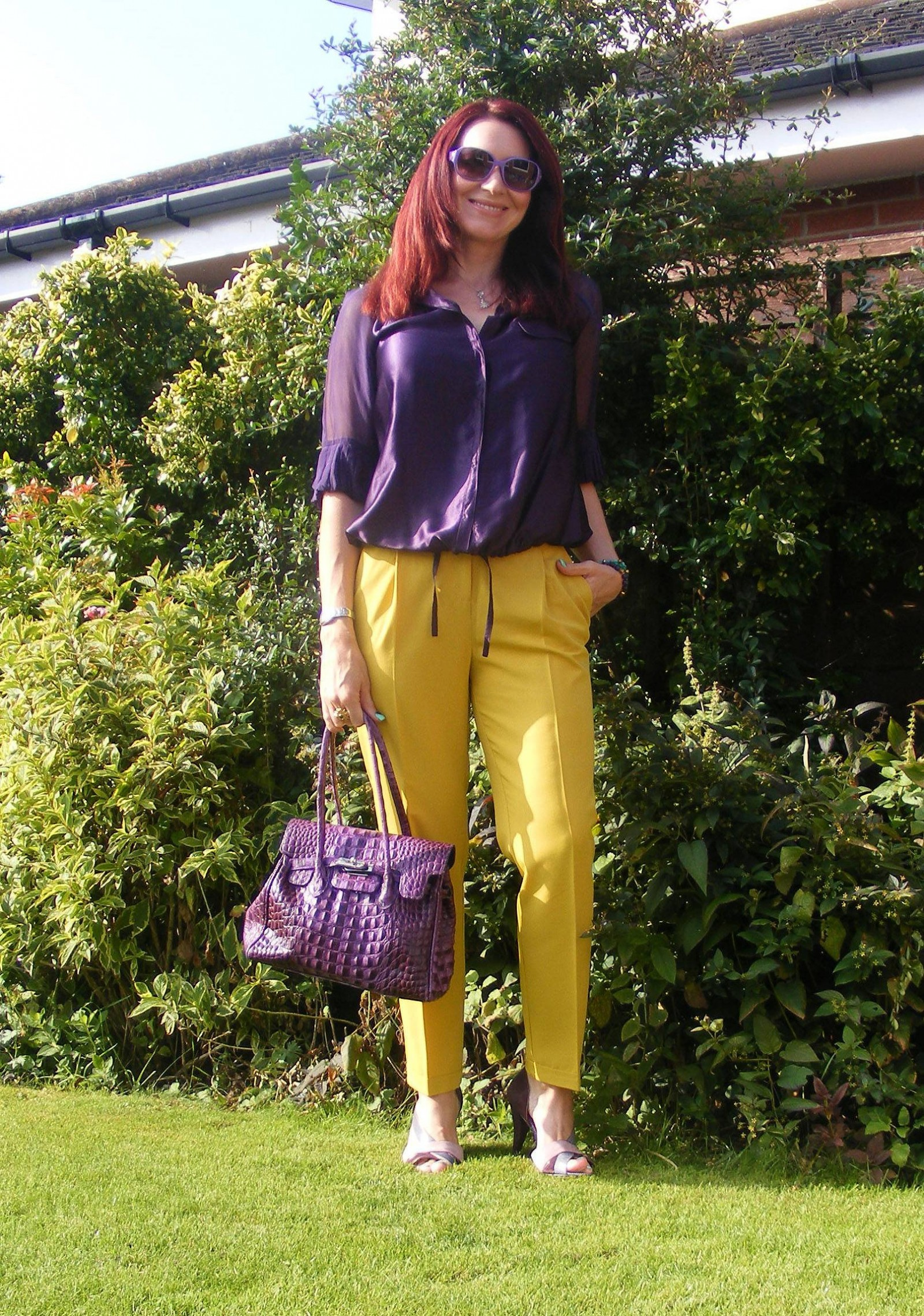 Mustard asos trousers Reiss purple silk blouse