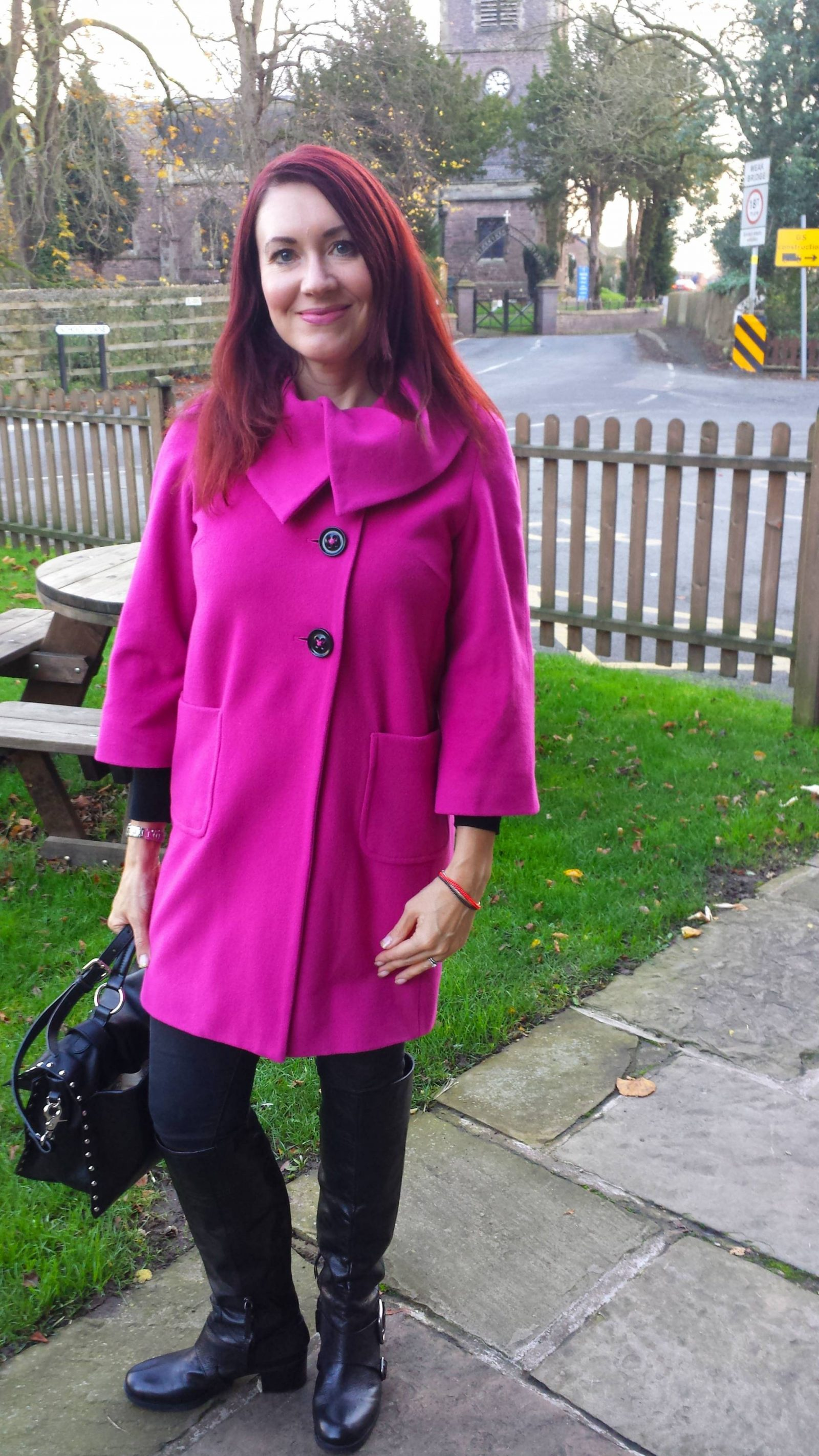 Pop of pink Per Una coat