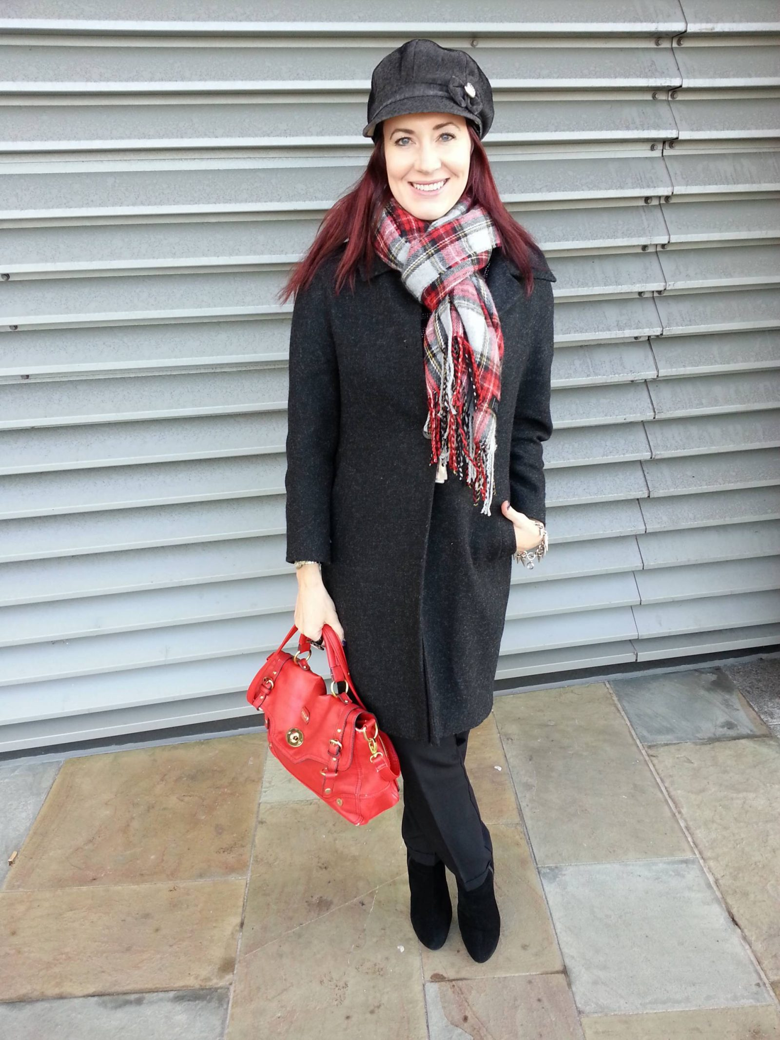 Asos Tartan Scarf and Baker Boy Hat
