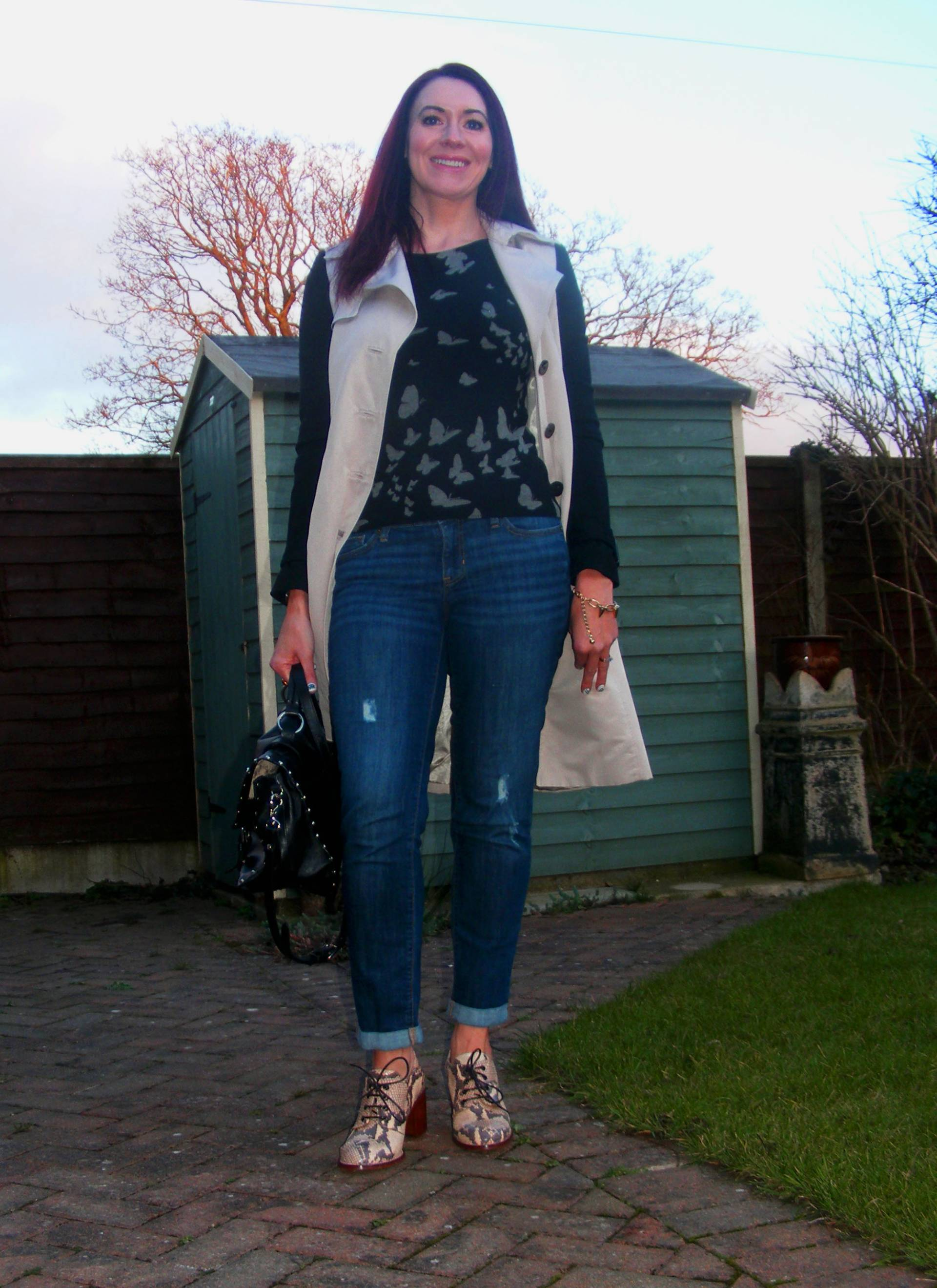 Topshop Snake Print Shoes and Next Butterfly Jumper