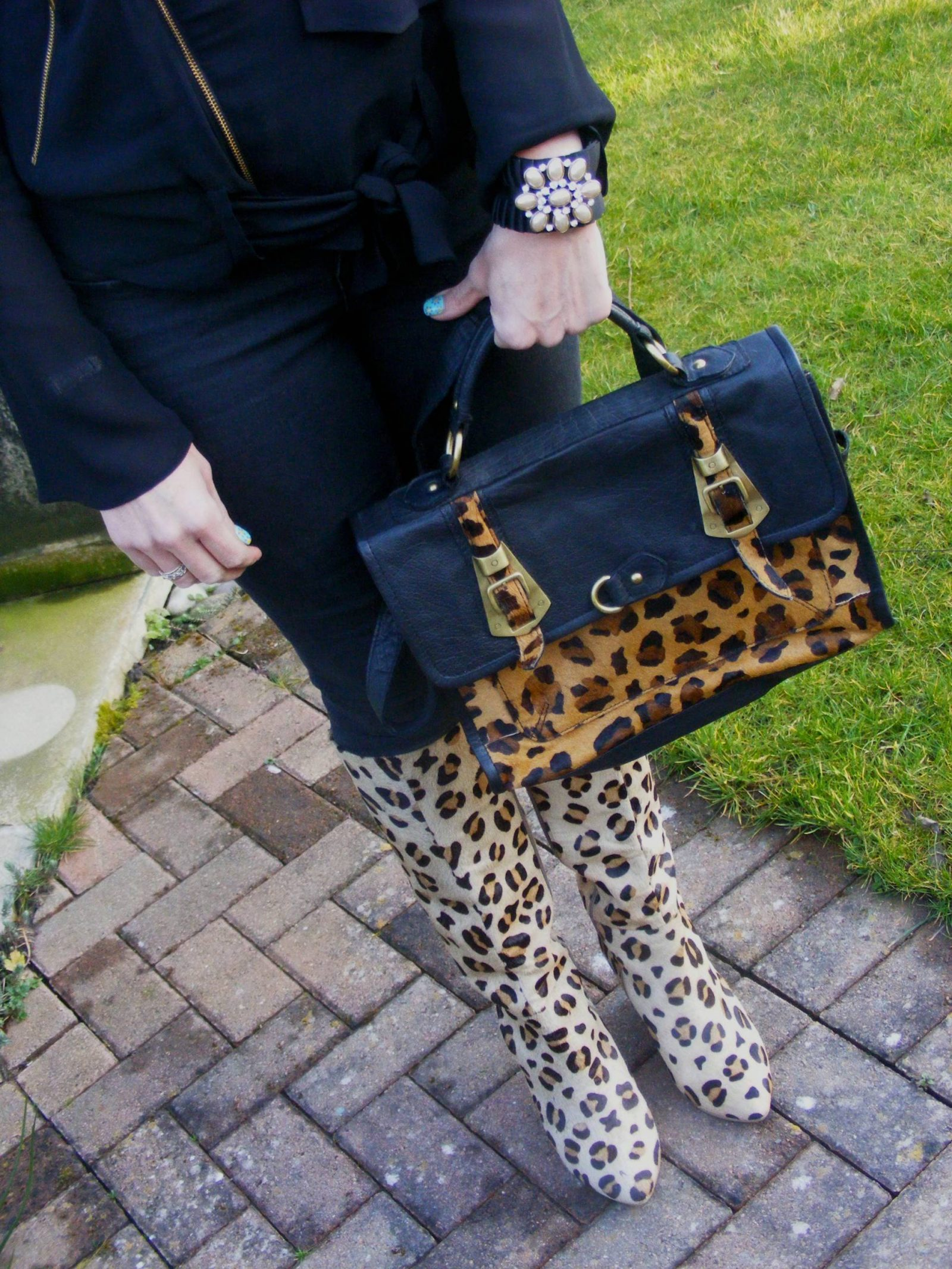 Asos leopard print satchel and knee boots