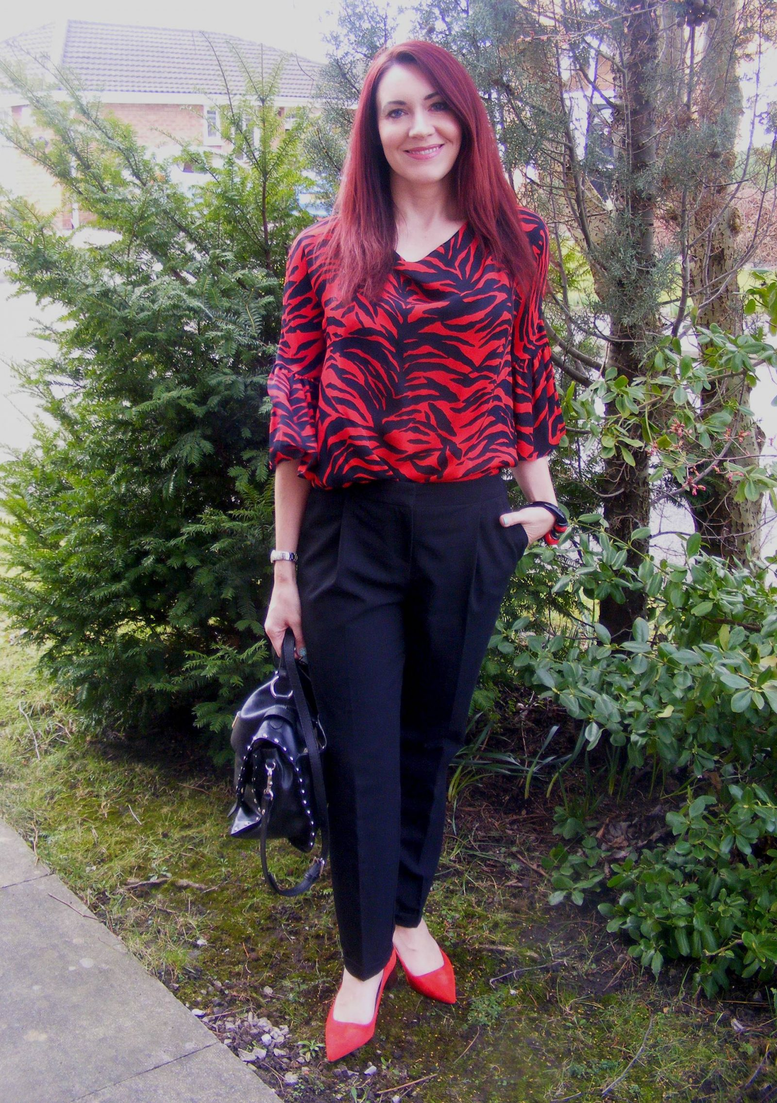 Red and black silk jaeger blouse