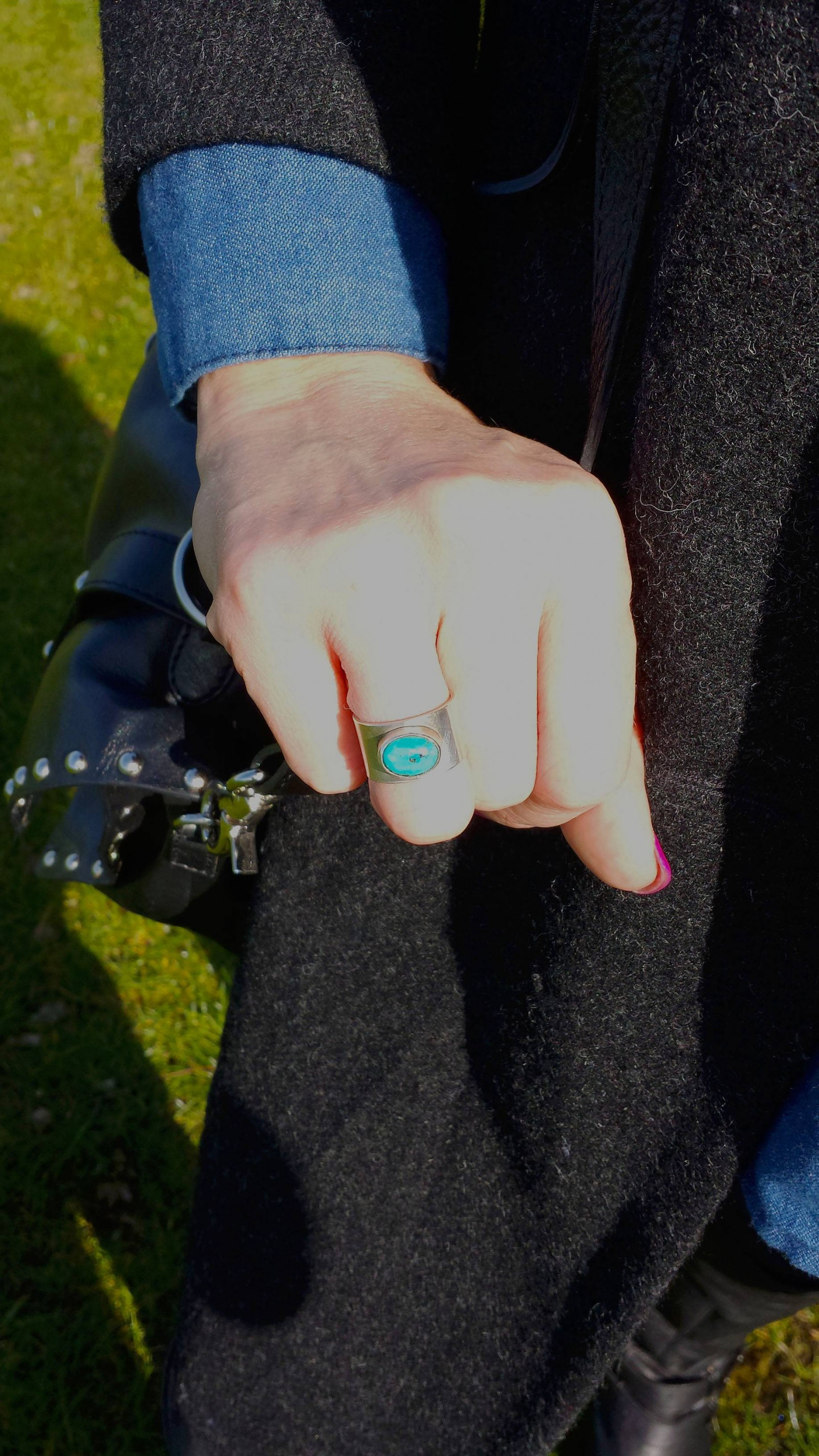 Silver and turquoise cabouchon ring