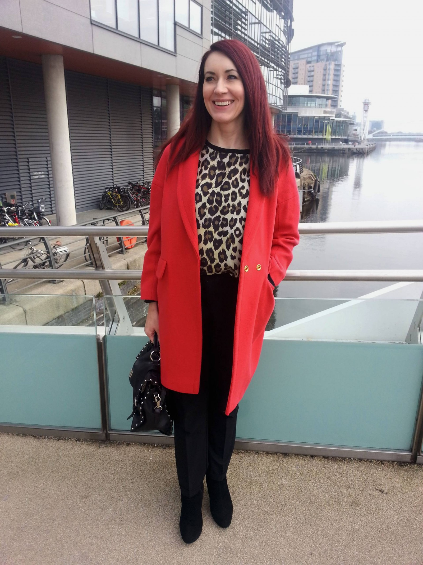 Red Wallis coat and Zara leopard print top
