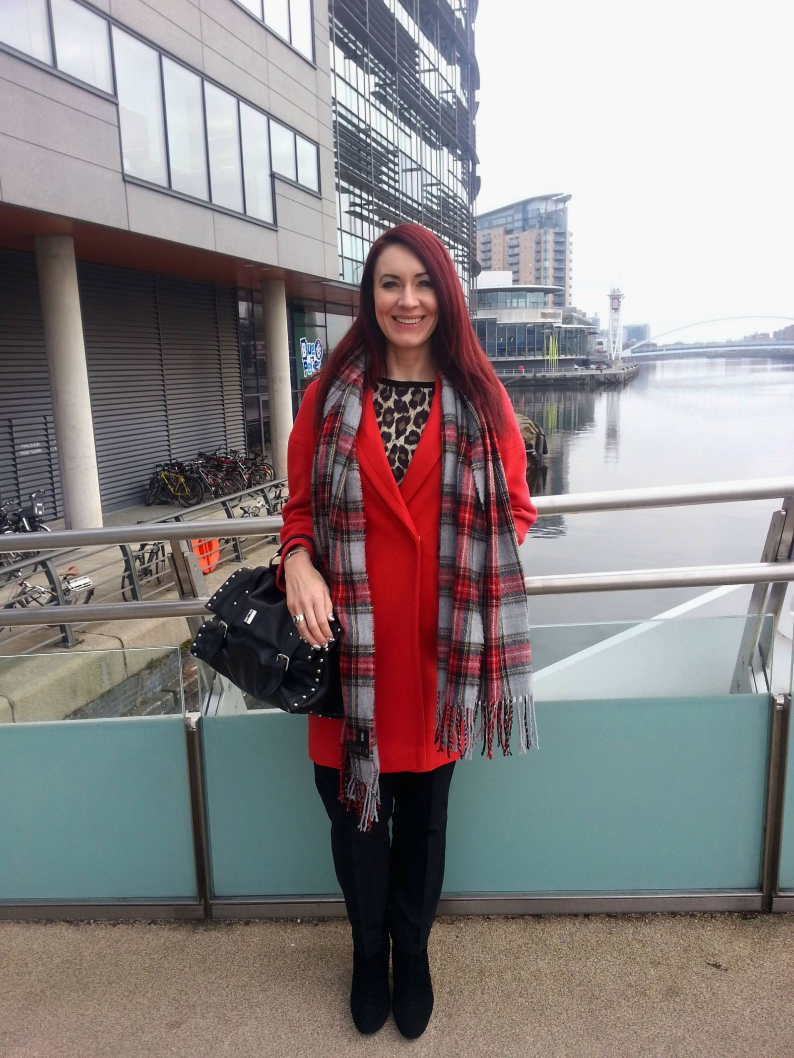 Wallis red coat Zara leopard print top Asos tartan scarf