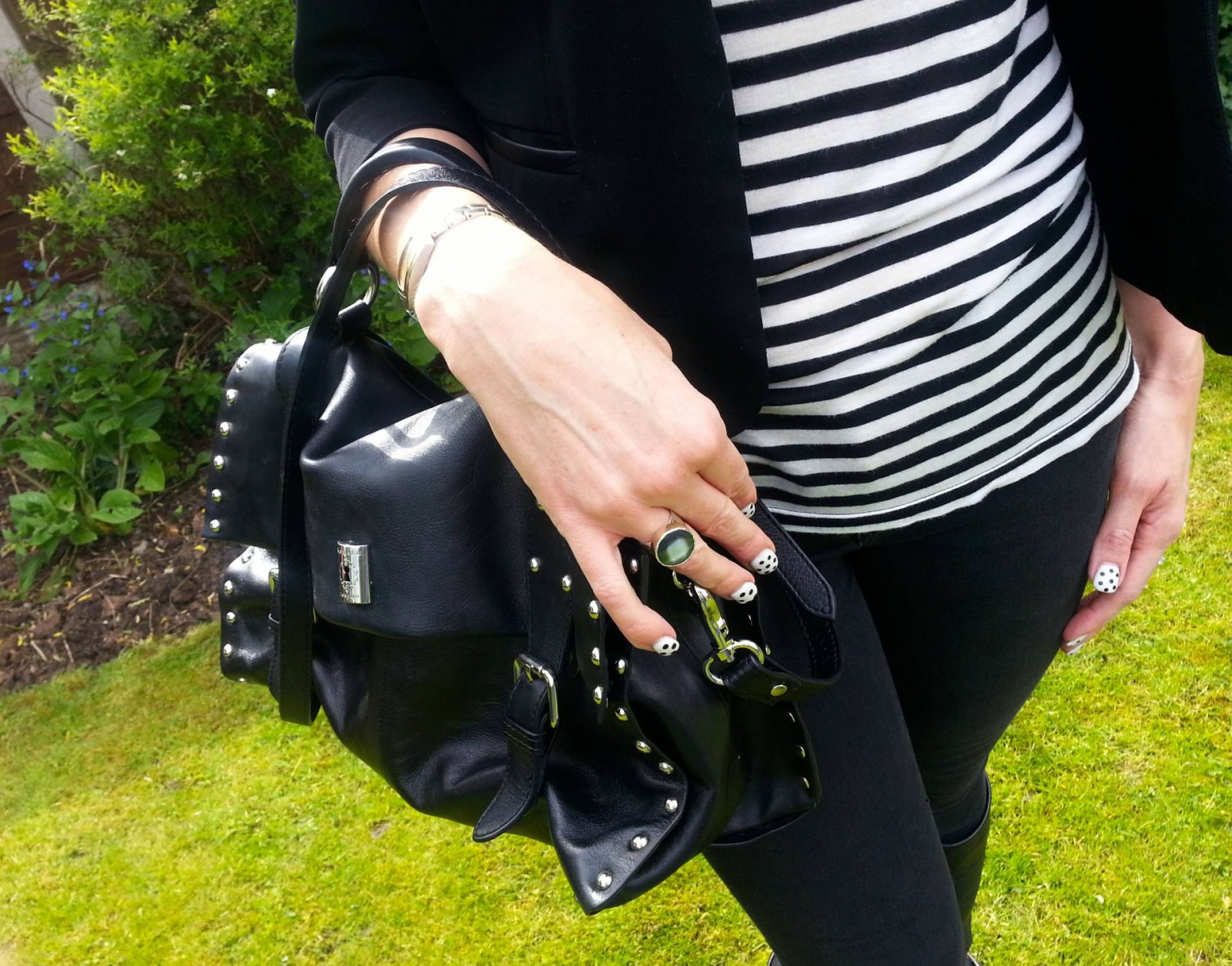 Modalu black leather studded satchel