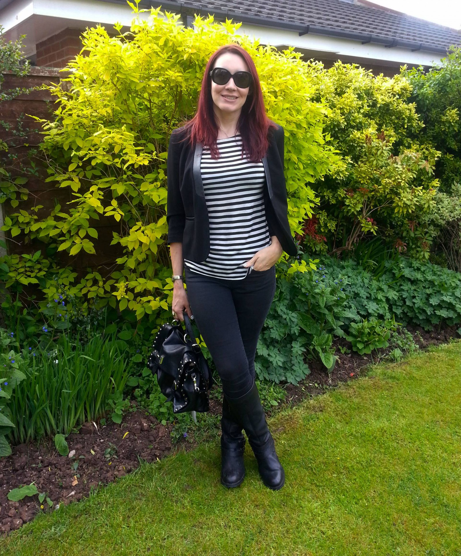 Black and white Breton stripe top Gap skinny jeans Modalu black leather satchel