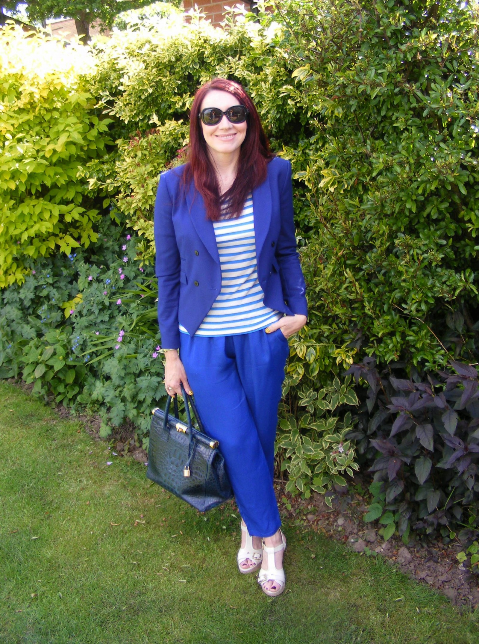 Blue Zara jacket and Mary portas trousers