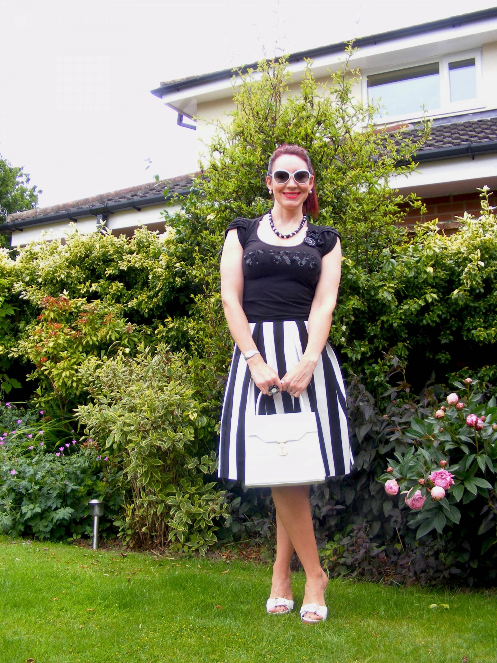 Principles black and white stripe skirt