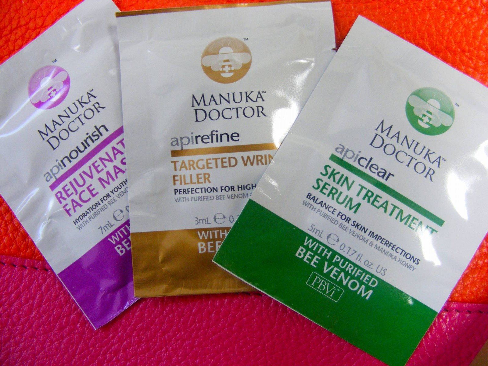 Manuka doctor bee venom samples