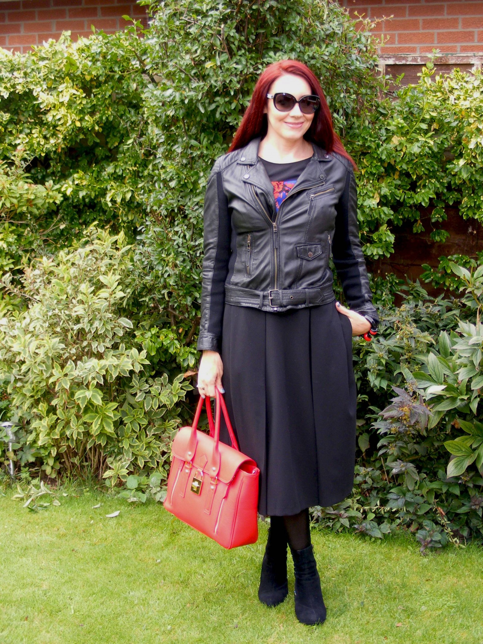 Black leather Oakwood jacket Asos midi skirt
