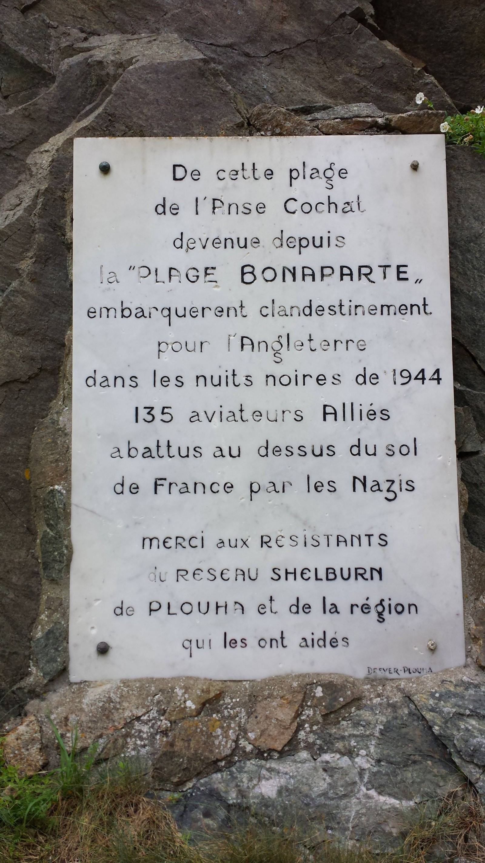 Bonaparte beach plaque