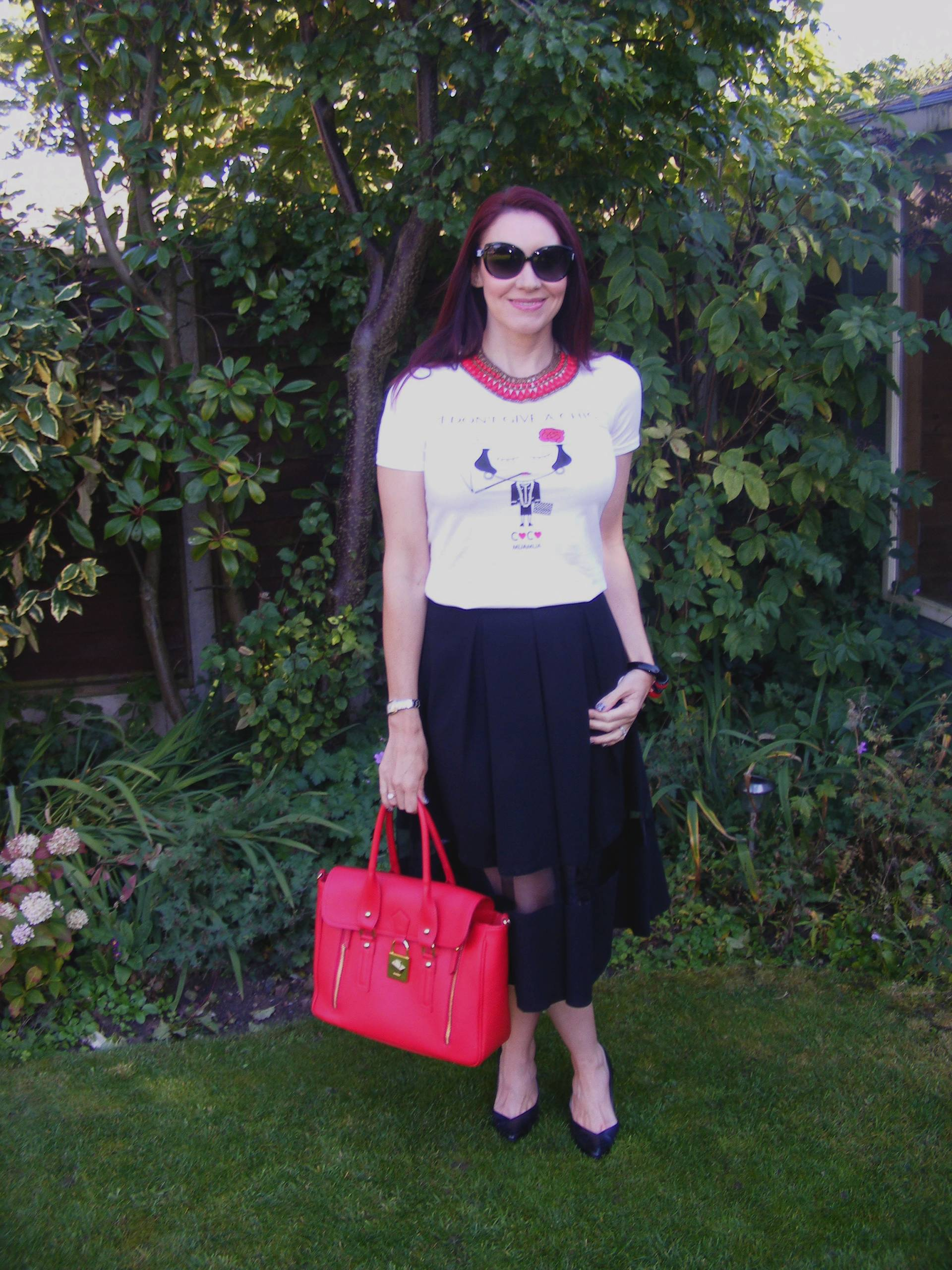 Coco Chanel Tee and Asos Midi Skirt