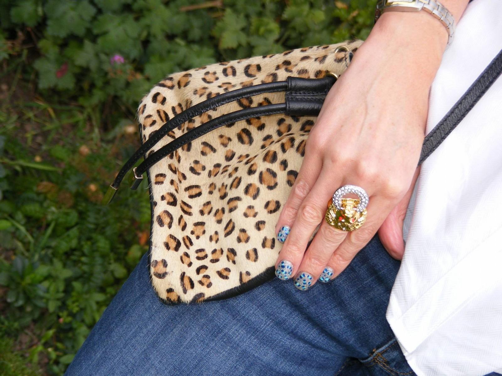 Kenneth Jay Lane lion ring leopard print Topshop bag