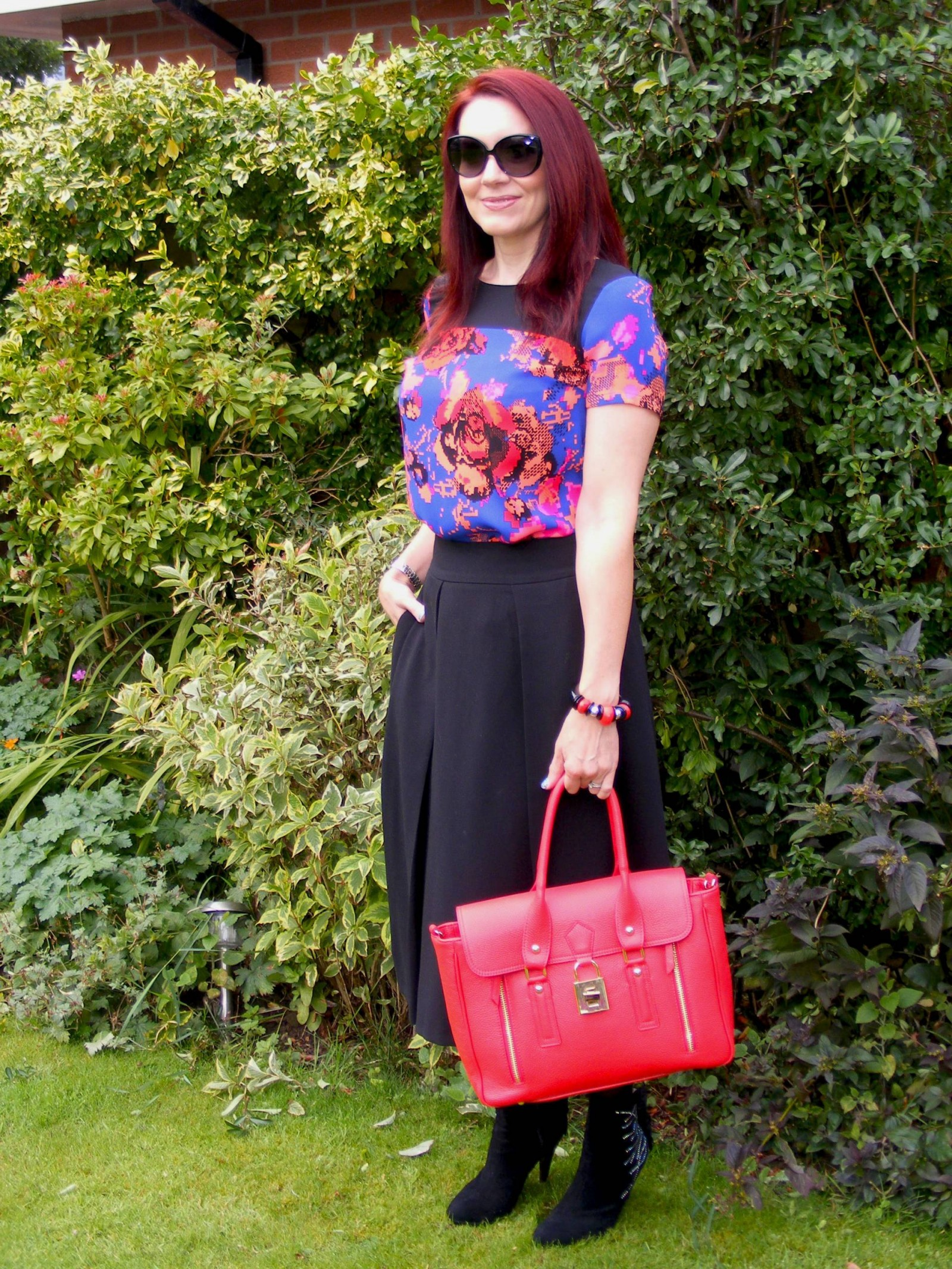 Marks and Spencer floral yoke top and Asos midi skirt