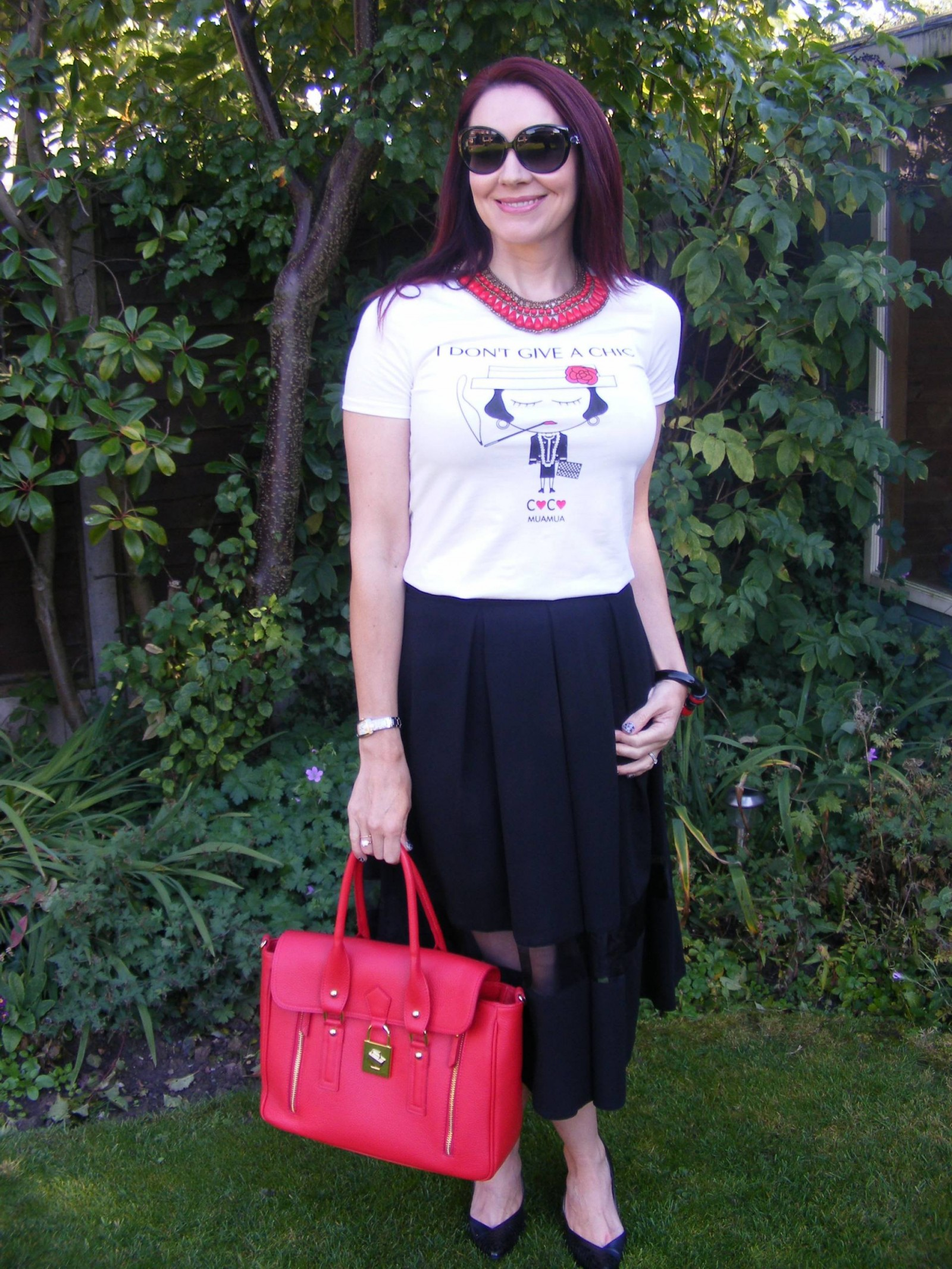 Mua Mua tee and Asos midi skirt