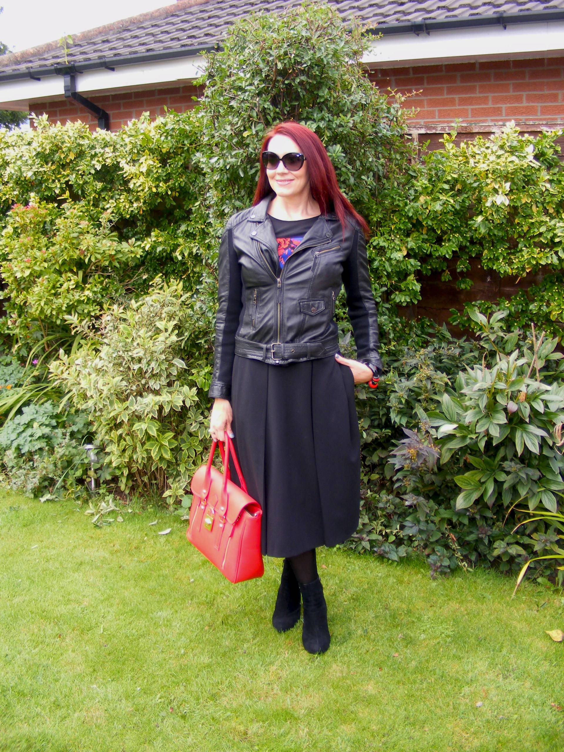 Oakwood Leather Jacket and Asos Midi Skirt