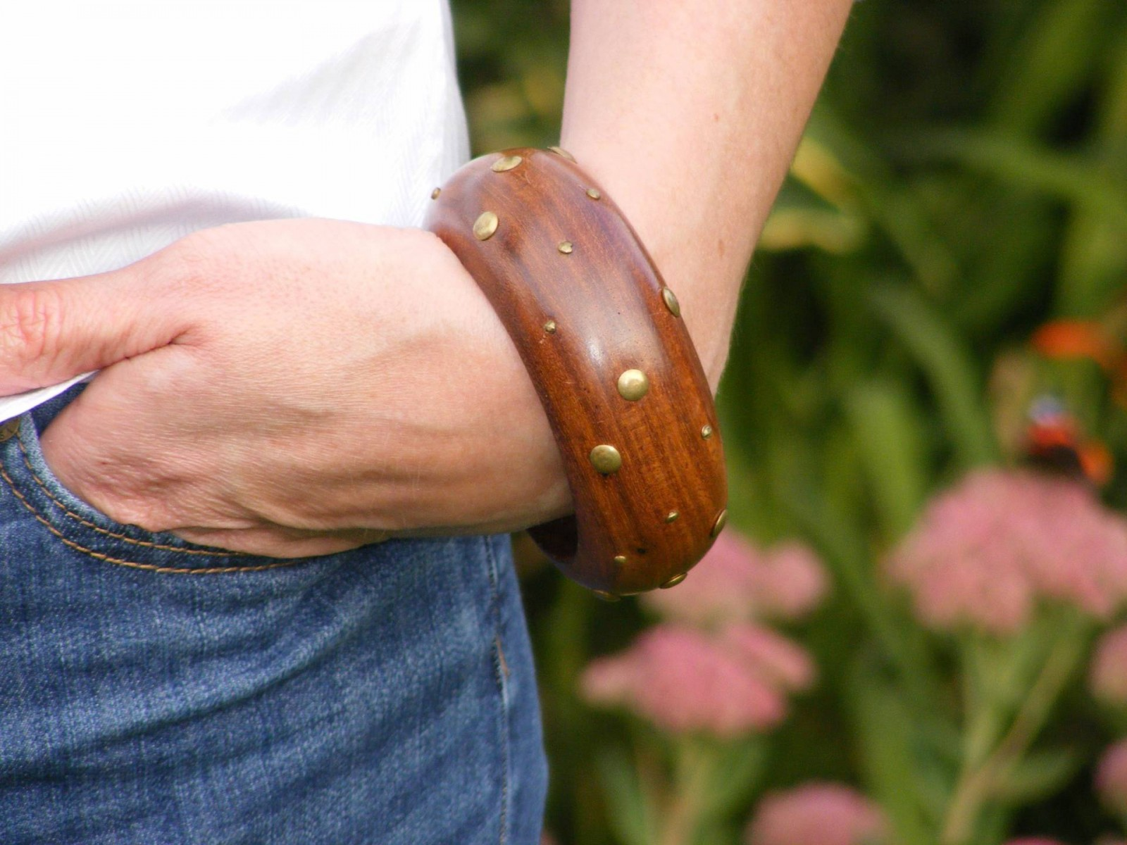 chunky wooden studded bangle