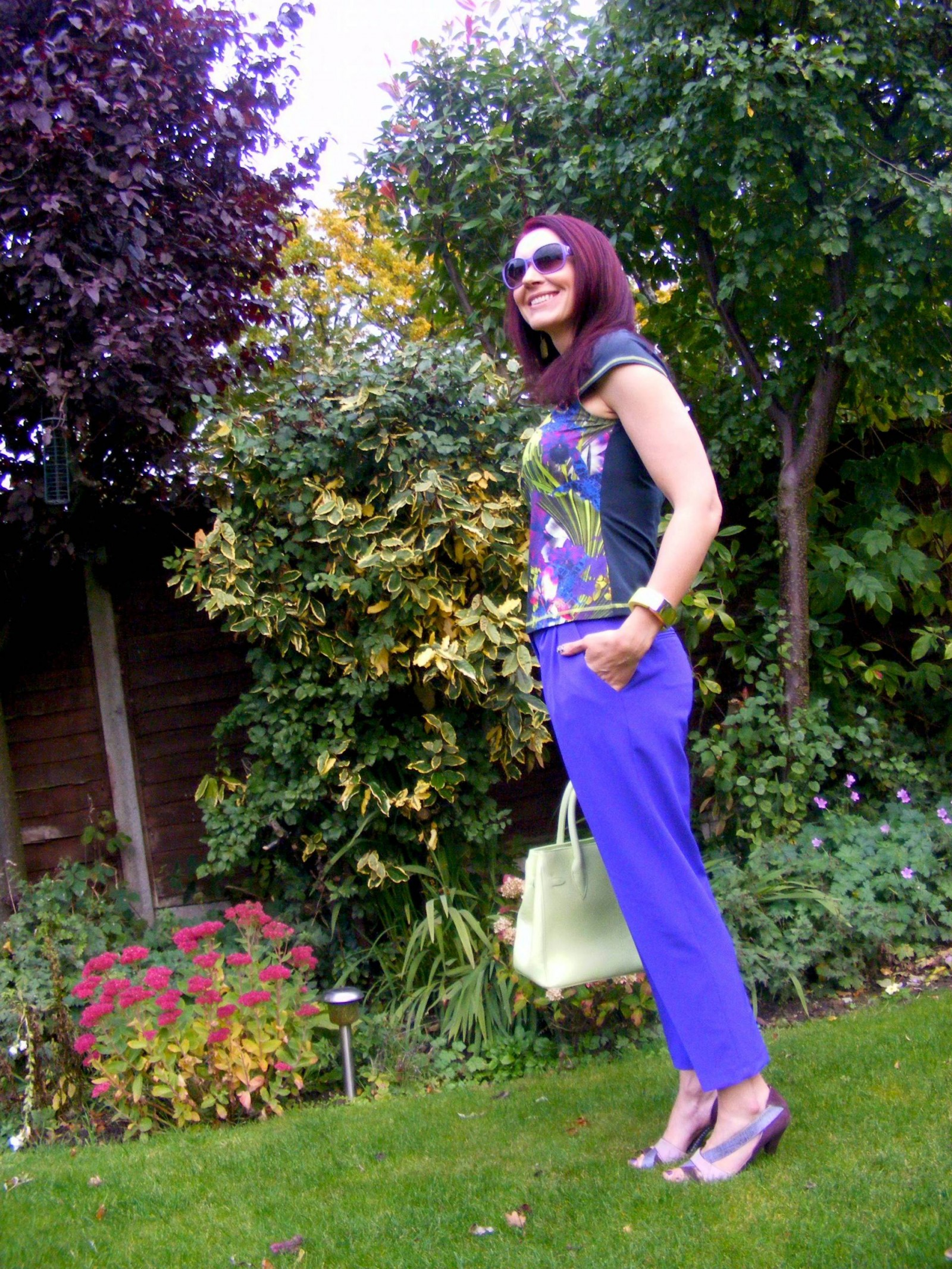 Karen Millen tropical print tee Asos purple trousers