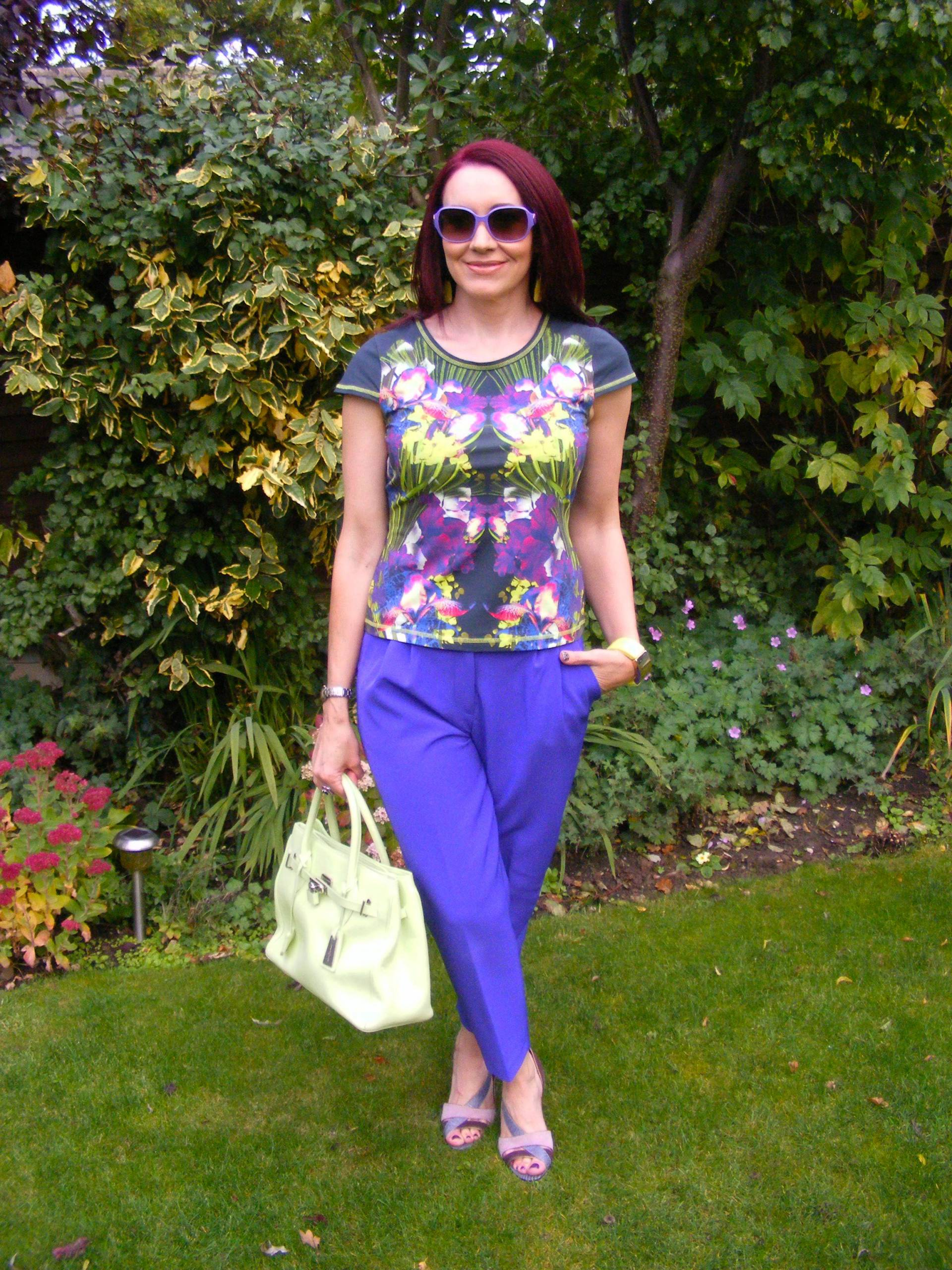 Tropical Print Top and Purple Trousers