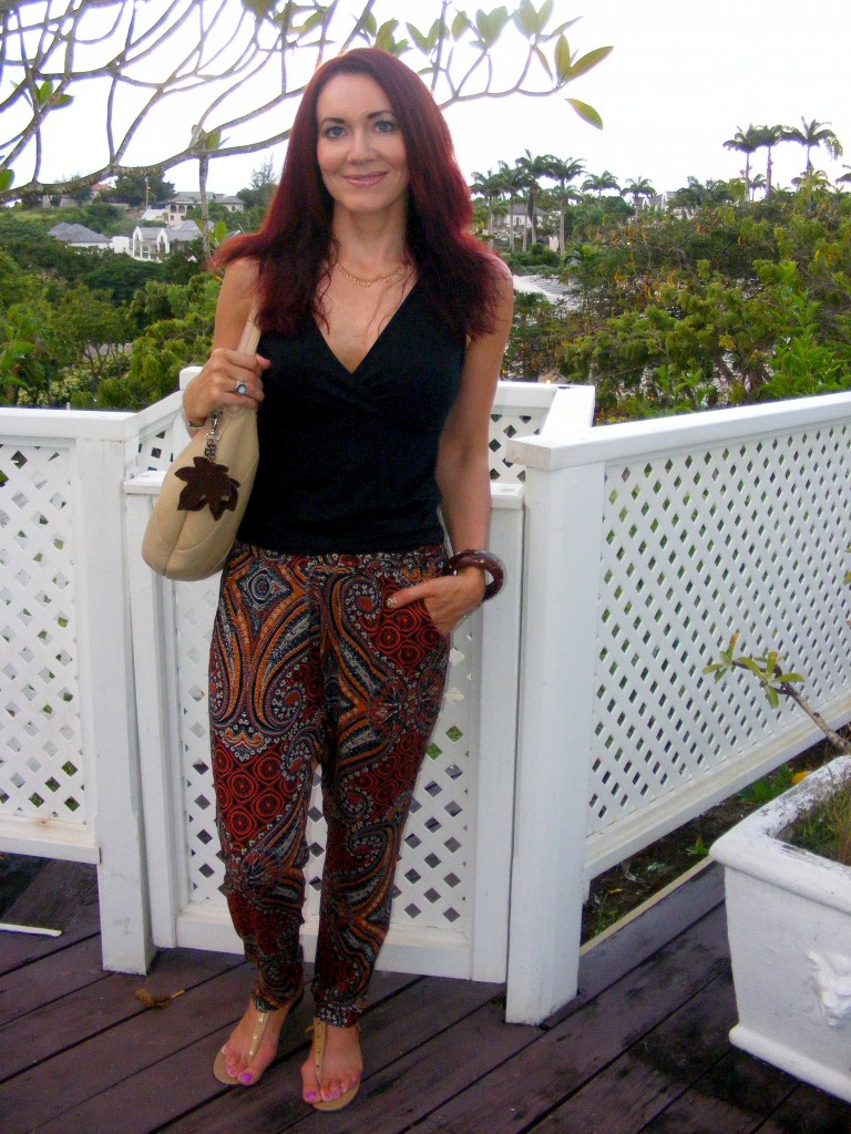 Red Herring tribal print trousers Barbados Holiday Wardrobe