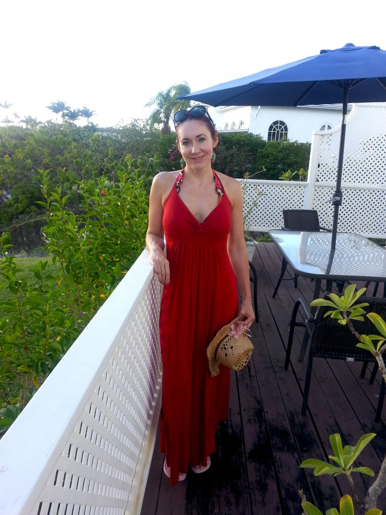 Barbados Holiday Wardrobe red beach dress