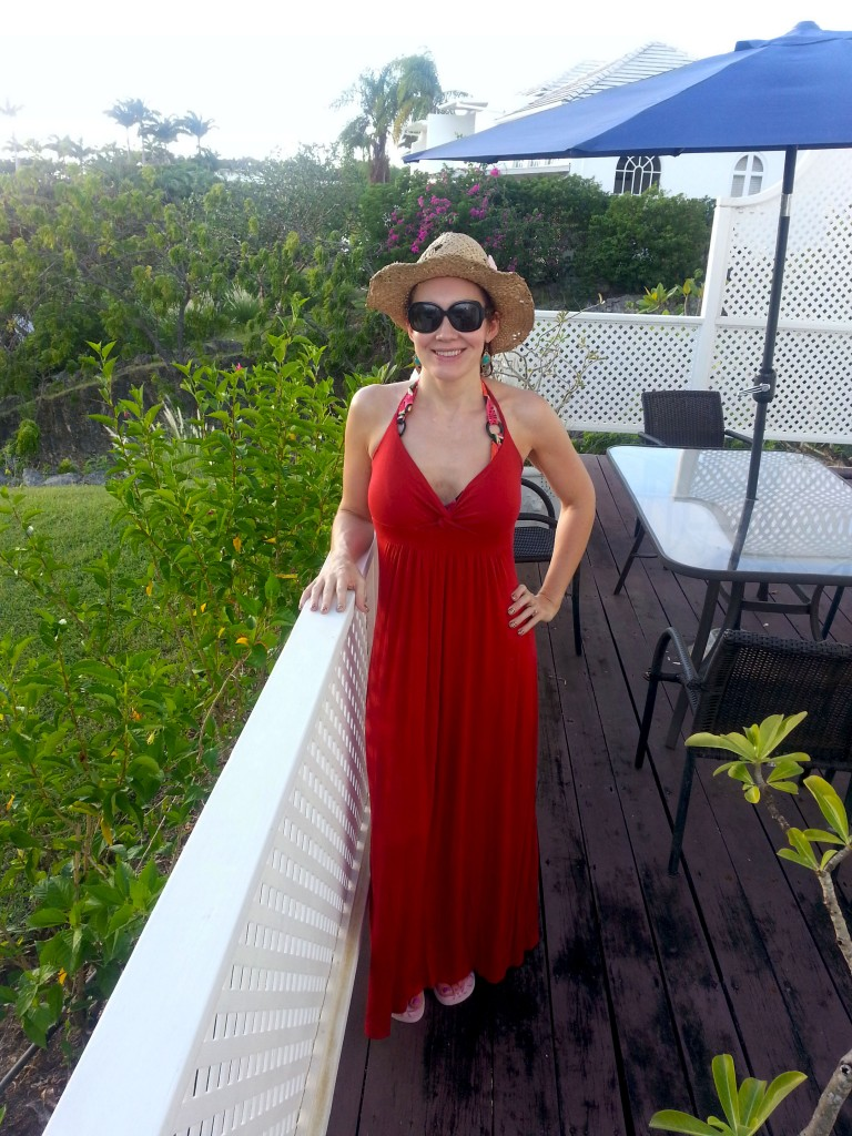 Red beach dress and straw hat Barbados Holiday Wardrobe