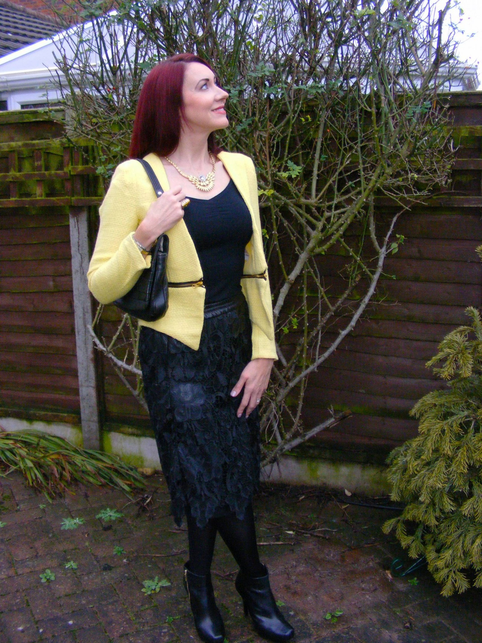 Black lace Zara skirt and yellow boucle jacket