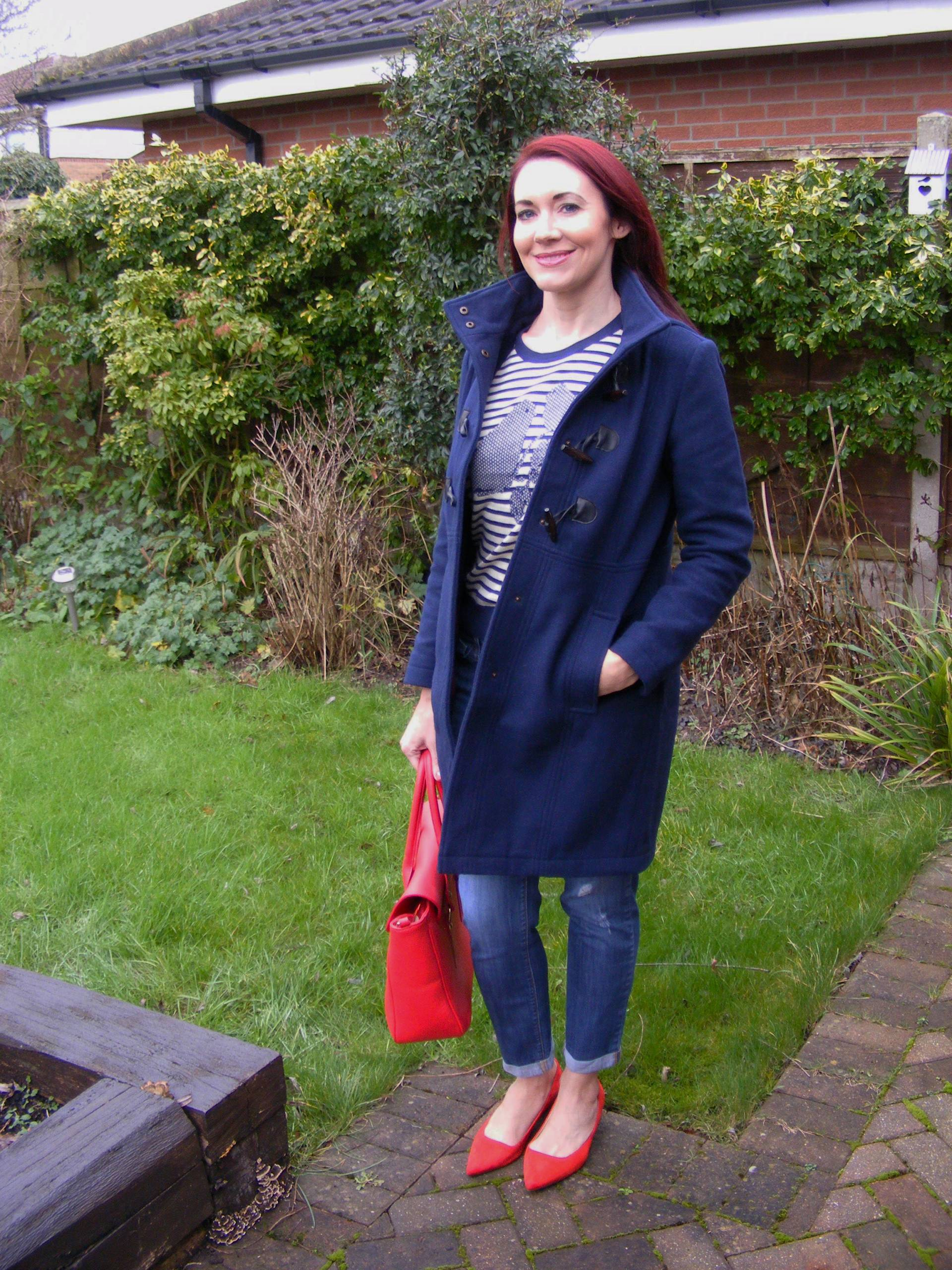 Dickins and Jones Navy Duffle Coat and Striped Bird Jumper