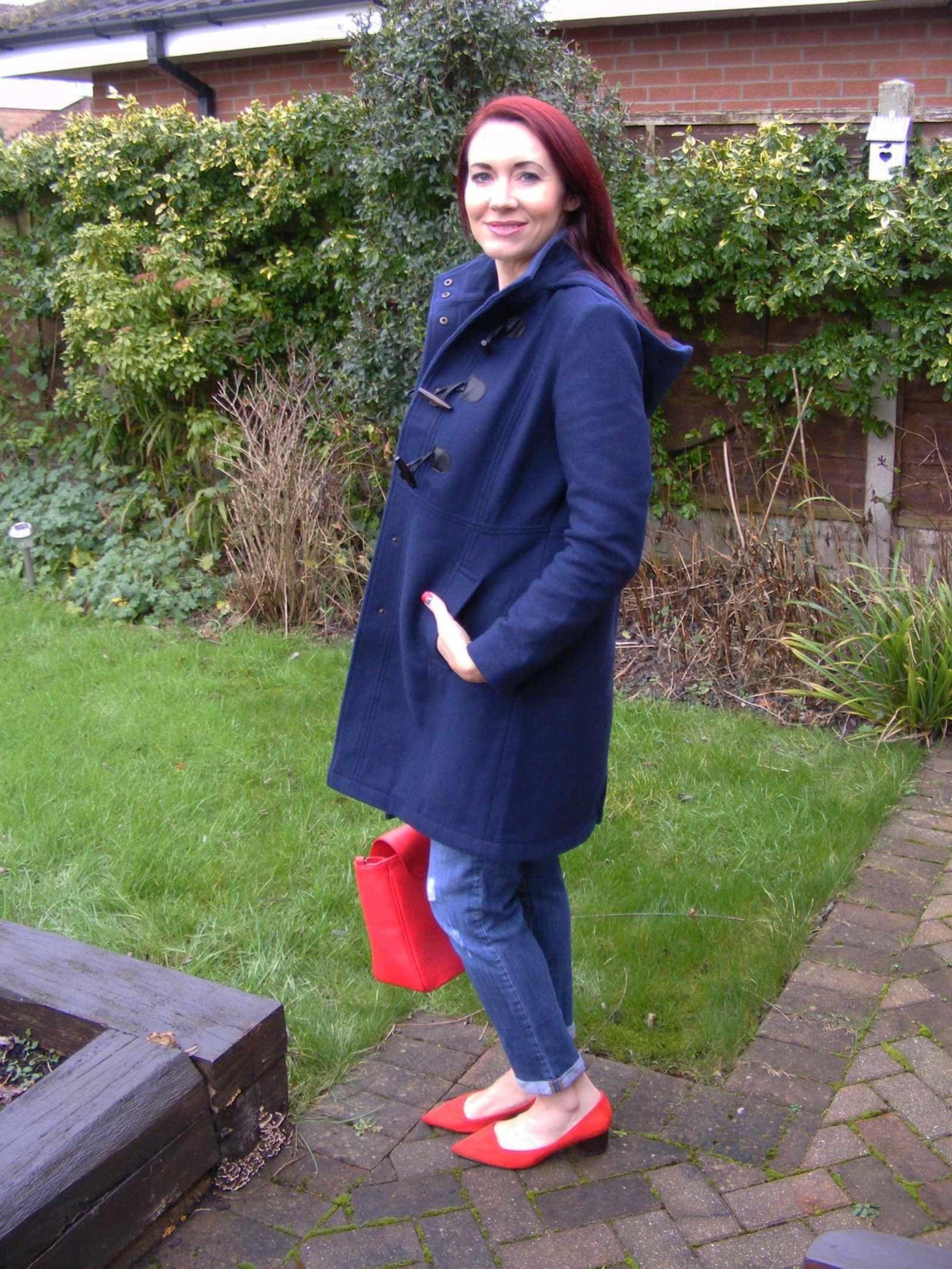 Dickens and Jones navy hooded duffle coat