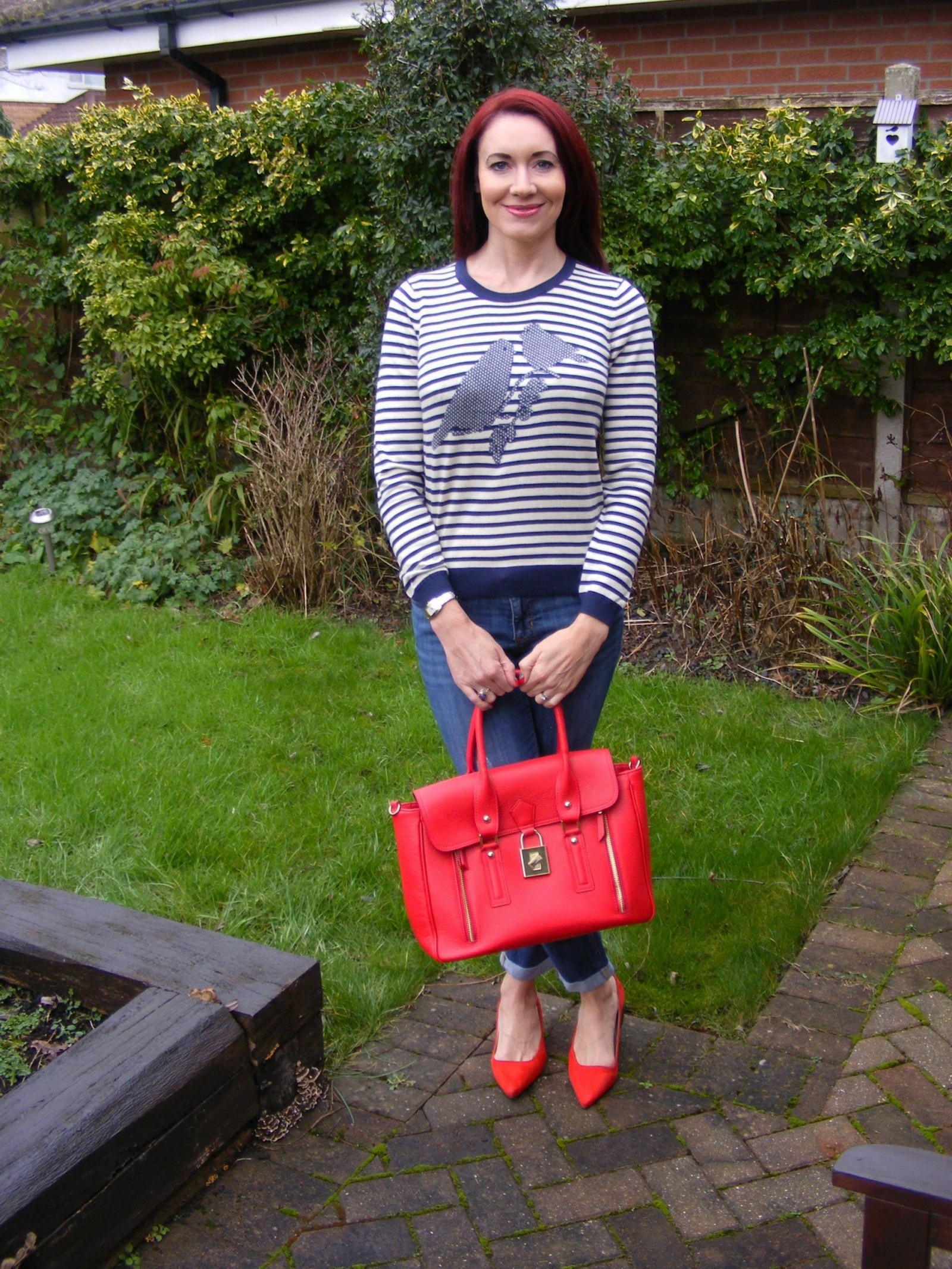 Dickins and Jones striped bird jumper Marks and Spencer red suede shoes