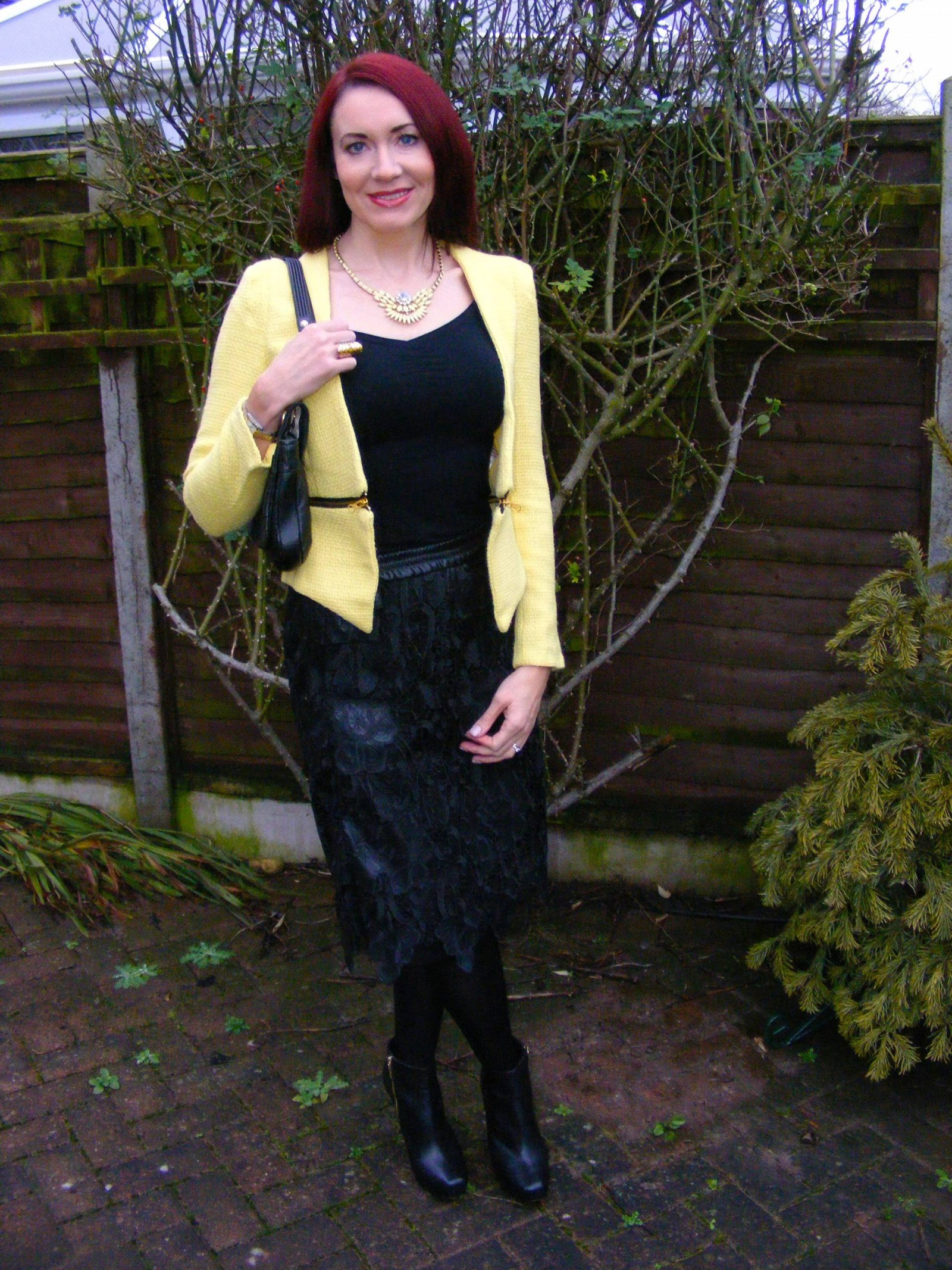 Lace Zara skirt and boucle yellow jacket