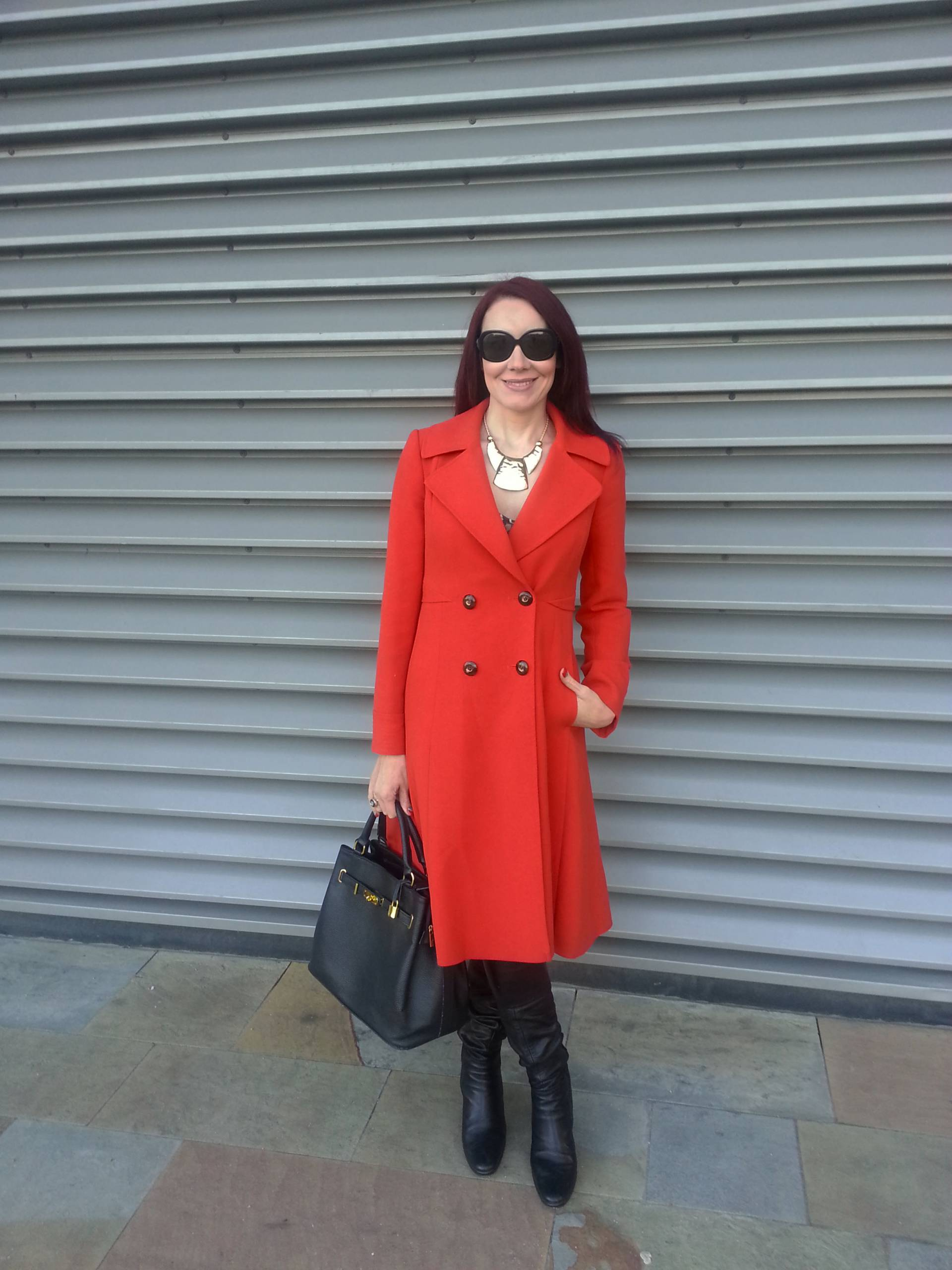 Red J by Jasper Conran Coat and Zara Leopard Print Dress