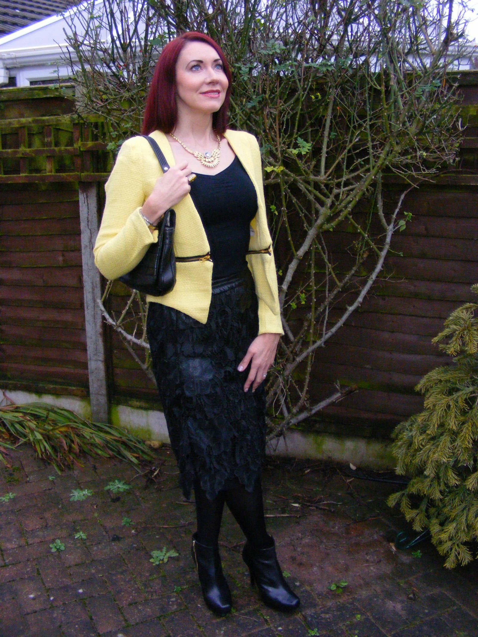Yellow boucle jacket and black lace Zara skirt