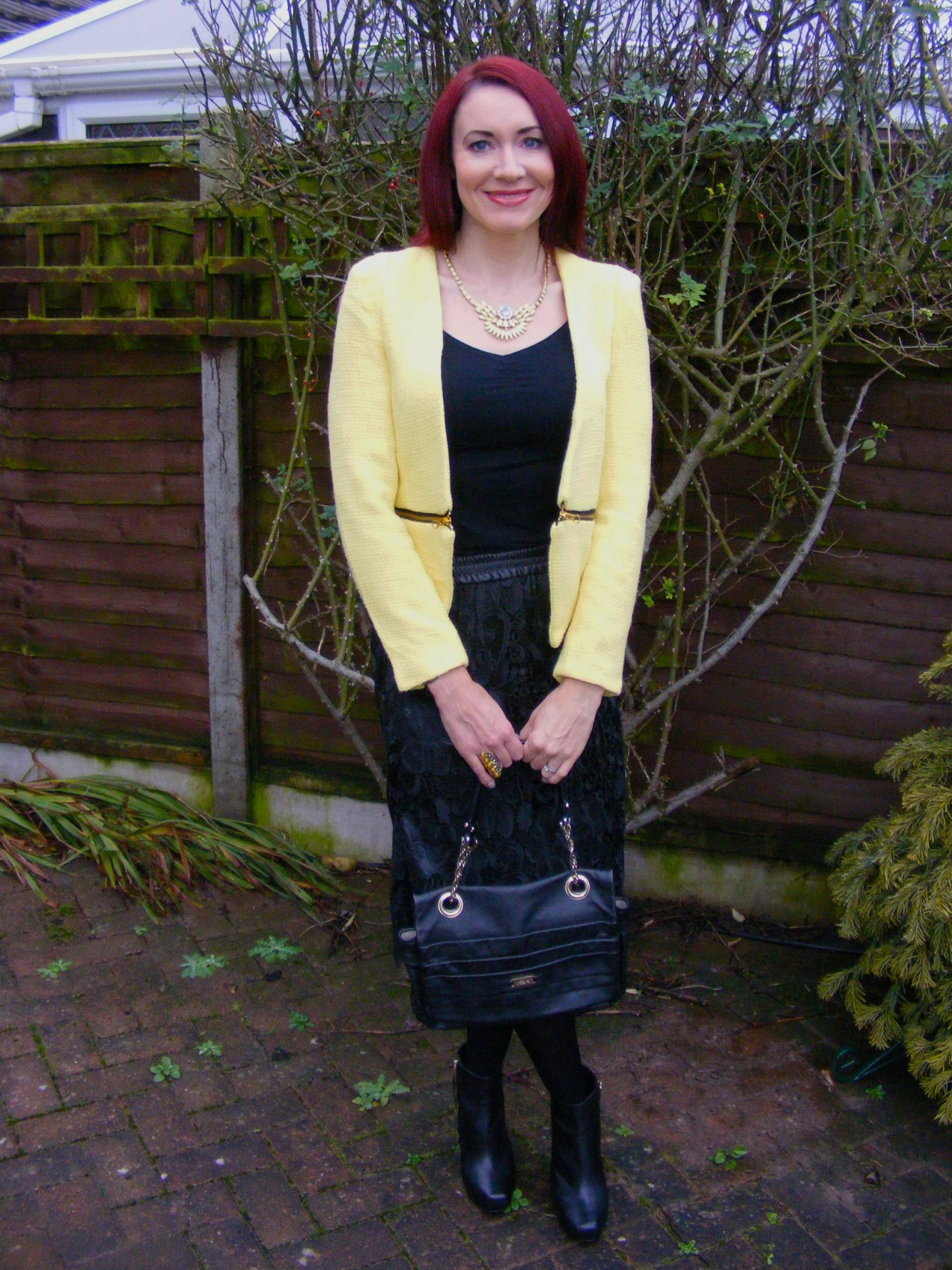 Zara lace skirt and yellow boucle jacket