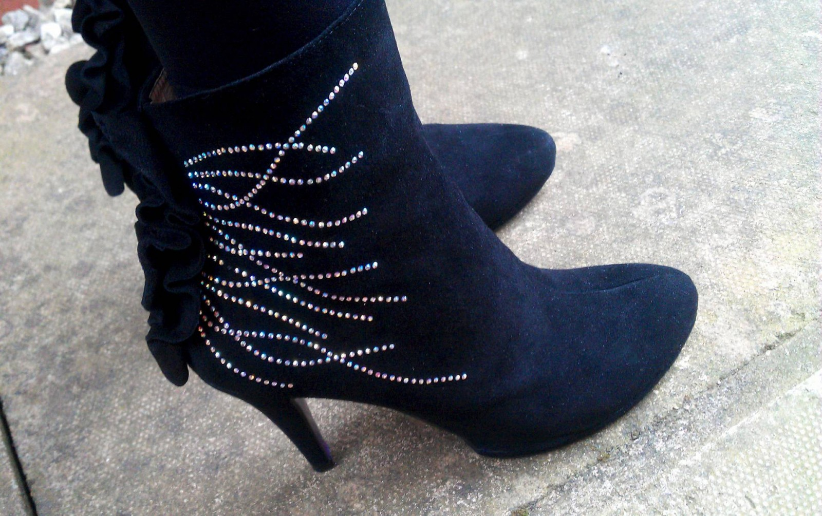 aceys diamante suede ankle boots