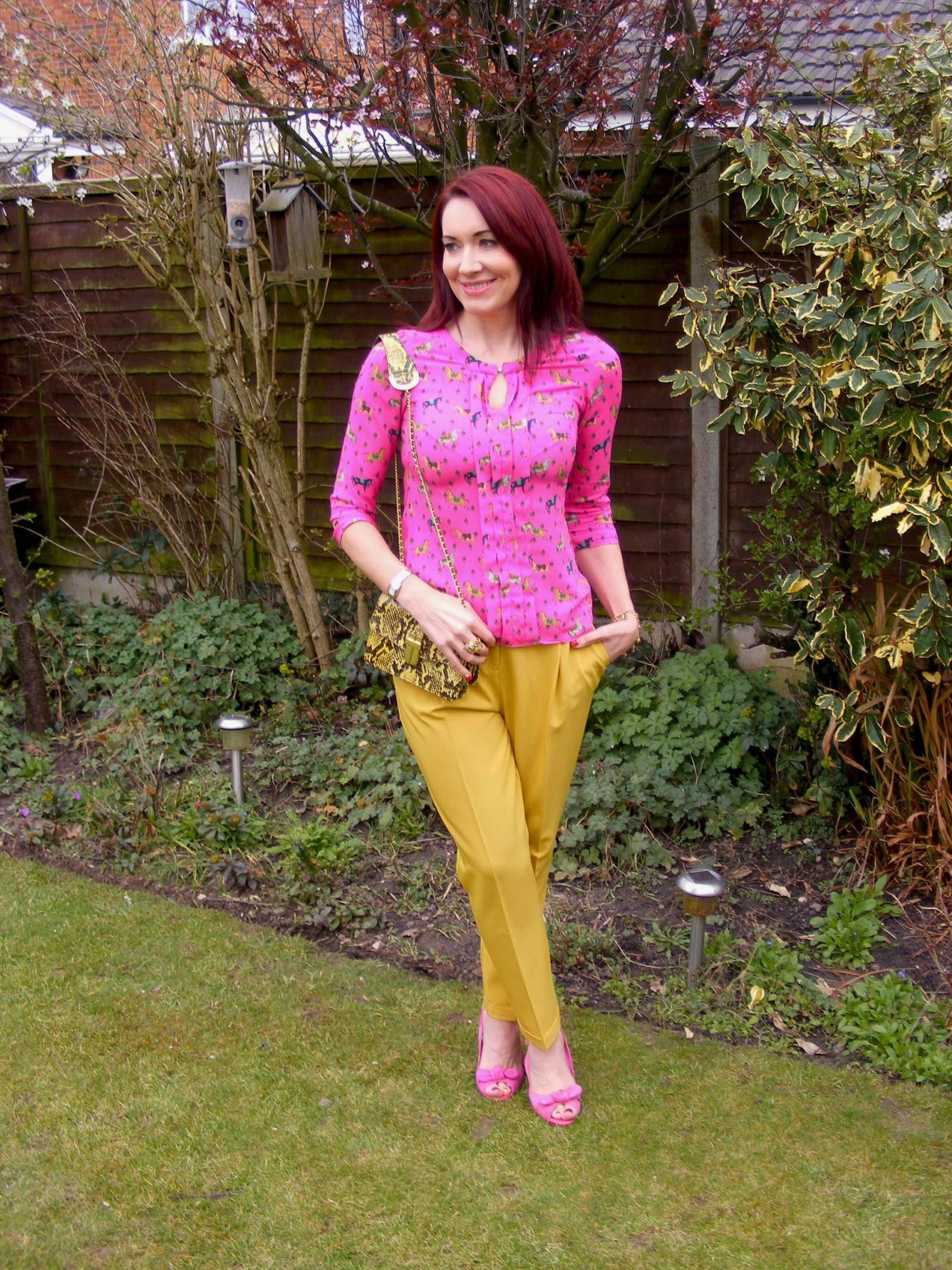 Asos mustard trousers pink horse print blouse