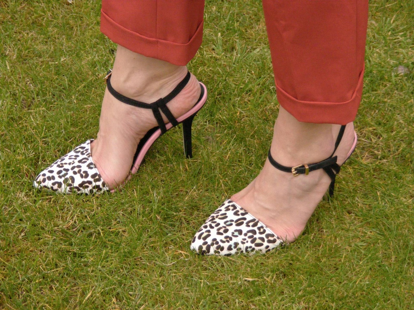 Carvela leopard print ankle strap shoes