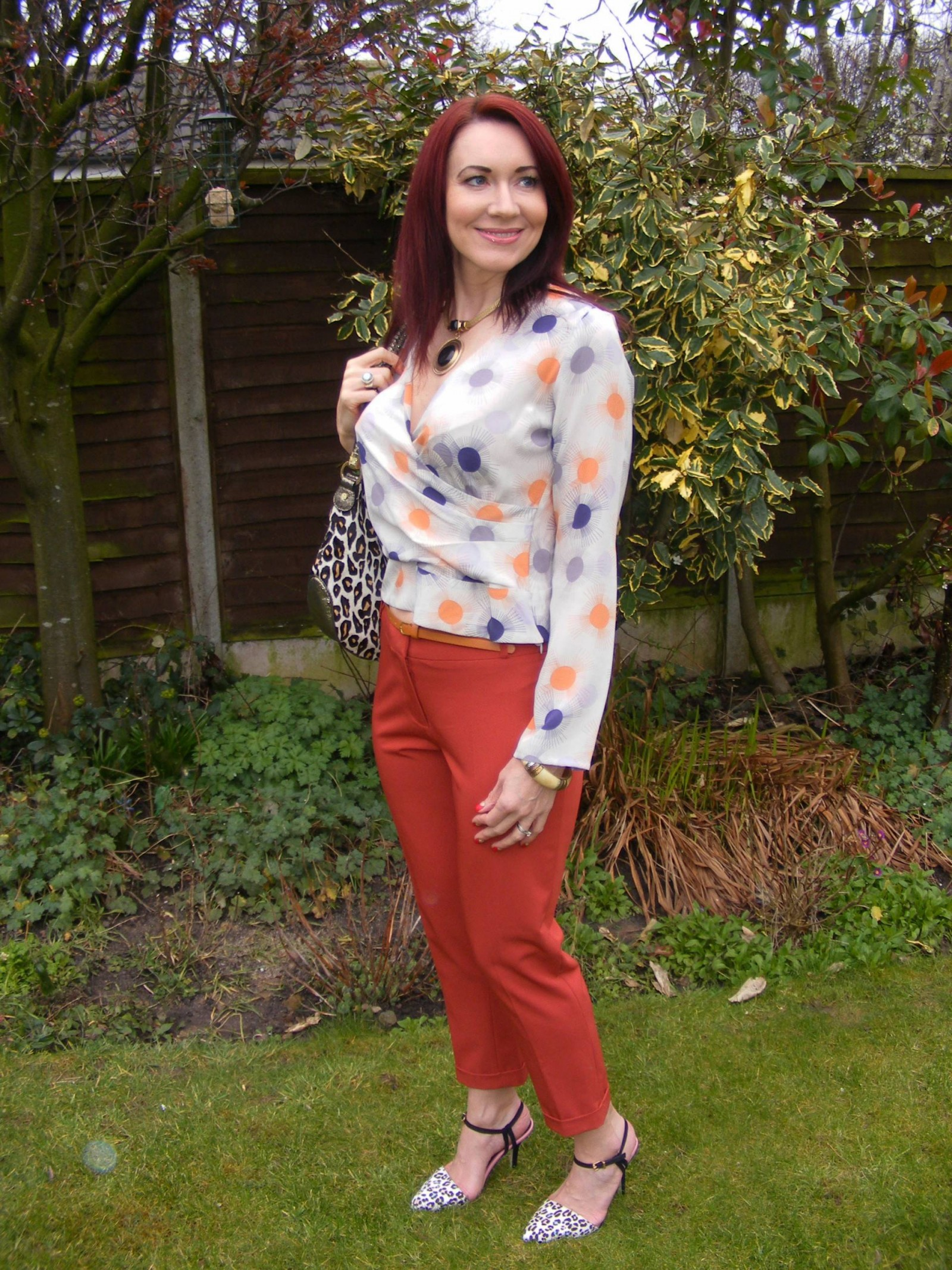 Dorothy Perkins crop orange trousers Reiss silk blouse