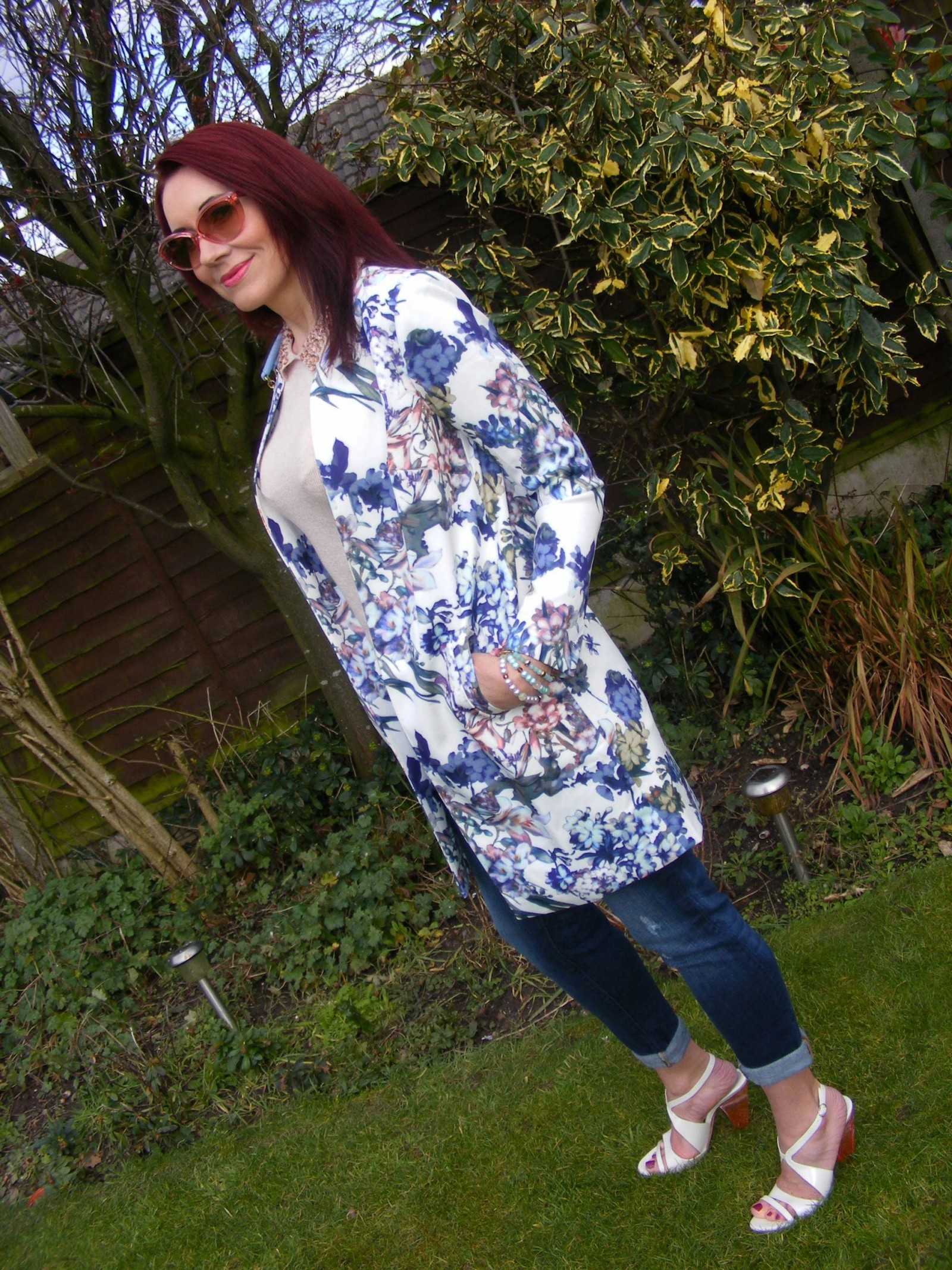 Lorraine Kelly for JD Williams Floral Print Scuba Jacket and pale blue Moschino bag Costume National sandals