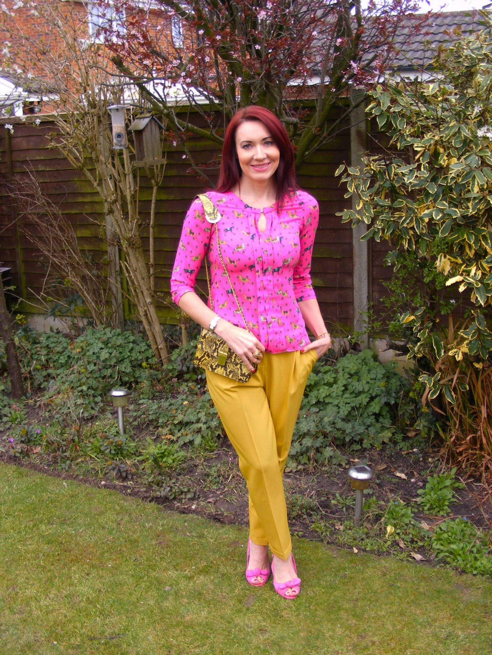 Pink horse print blouse Asos mustard trousers