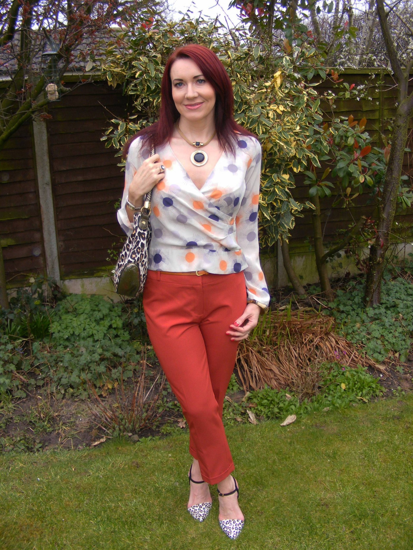 Reiss blouse Dorothy Perkins orange crop trousers